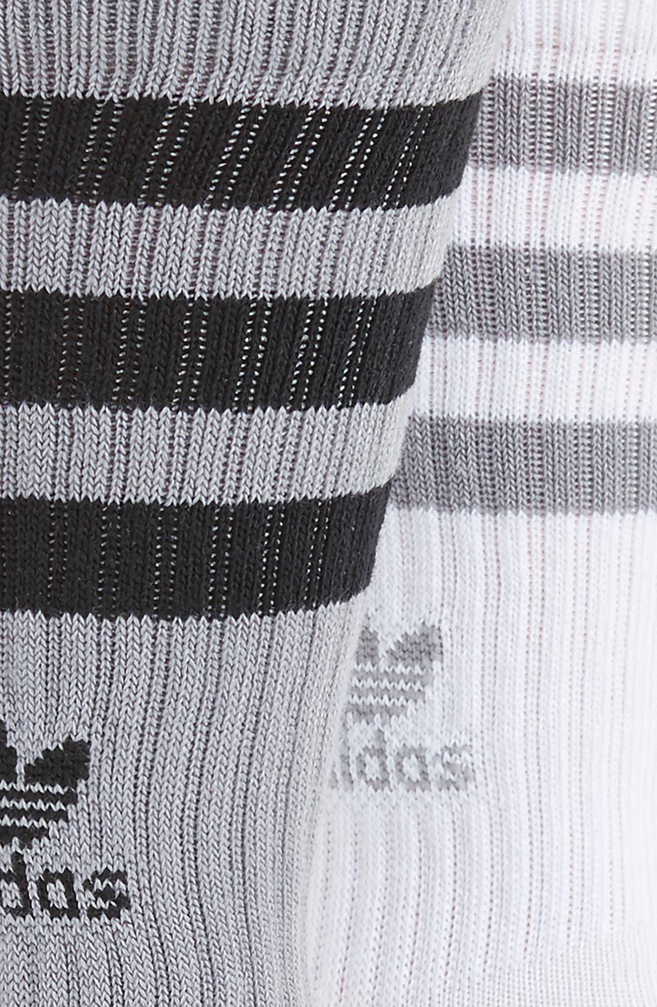 ADIDAS ORIGINALS, 3-Pack Ribbed Crew Socks, Alternate thumbnail 2, color, LIGHT ONYX/ BLACK/ WHITE