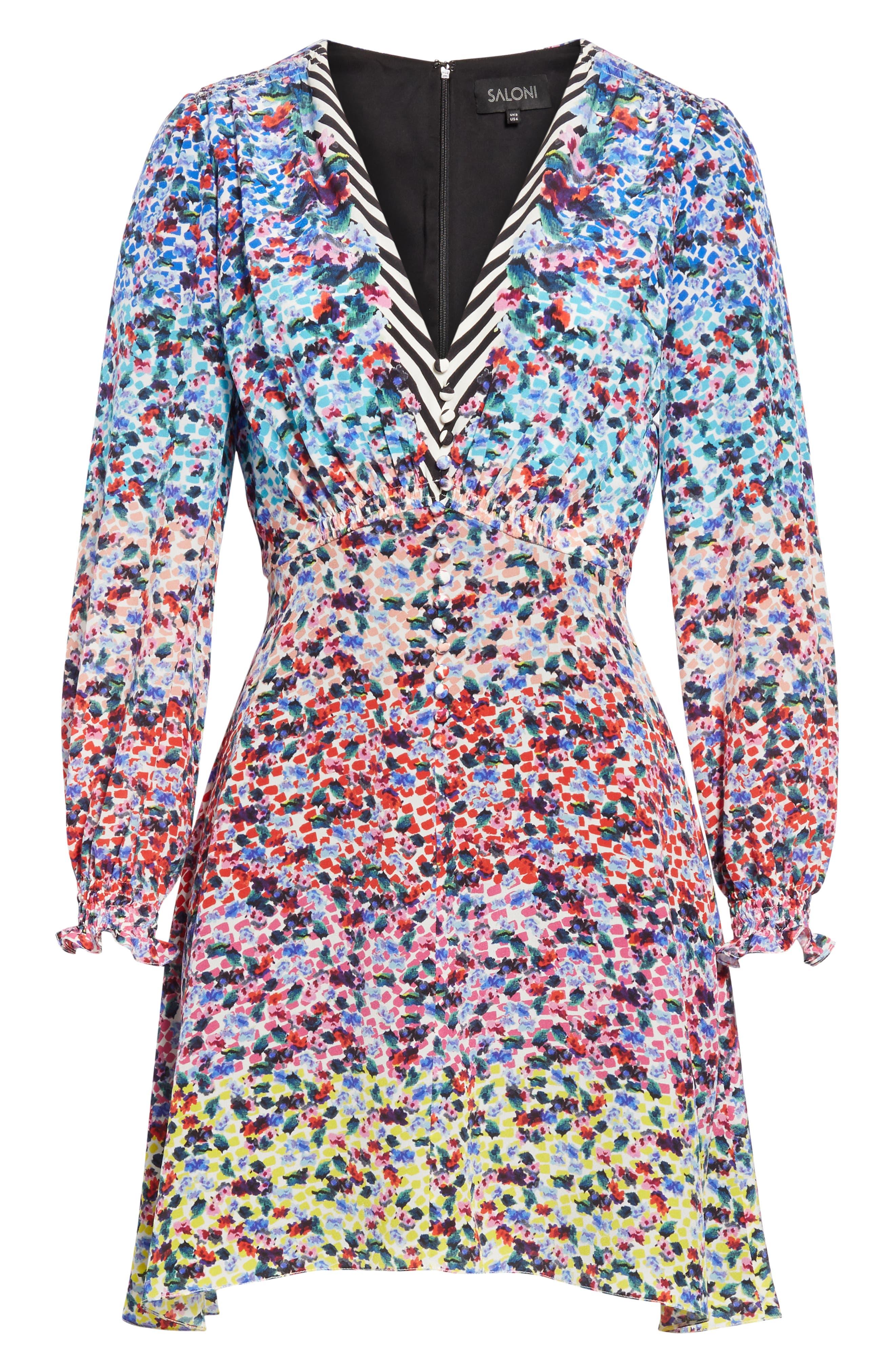 SALONI, Eve Floral Print Dress, Alternate thumbnail 7, color, RAINBOW GARDENIA PLMT