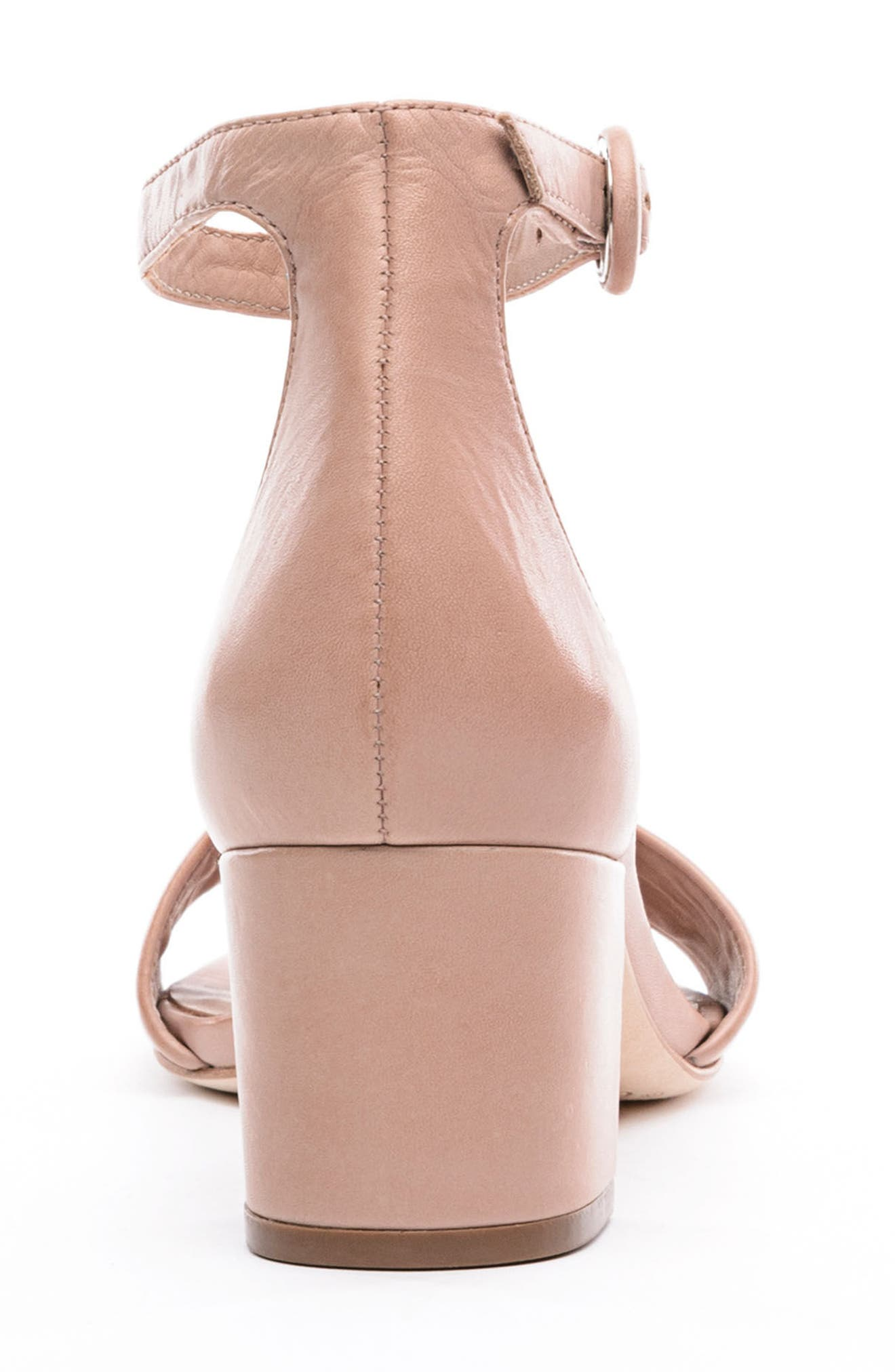 BERNARDO, Belinda Ankle Strap Sandal, Alternate thumbnail 7, color, BLUSH LEATHER