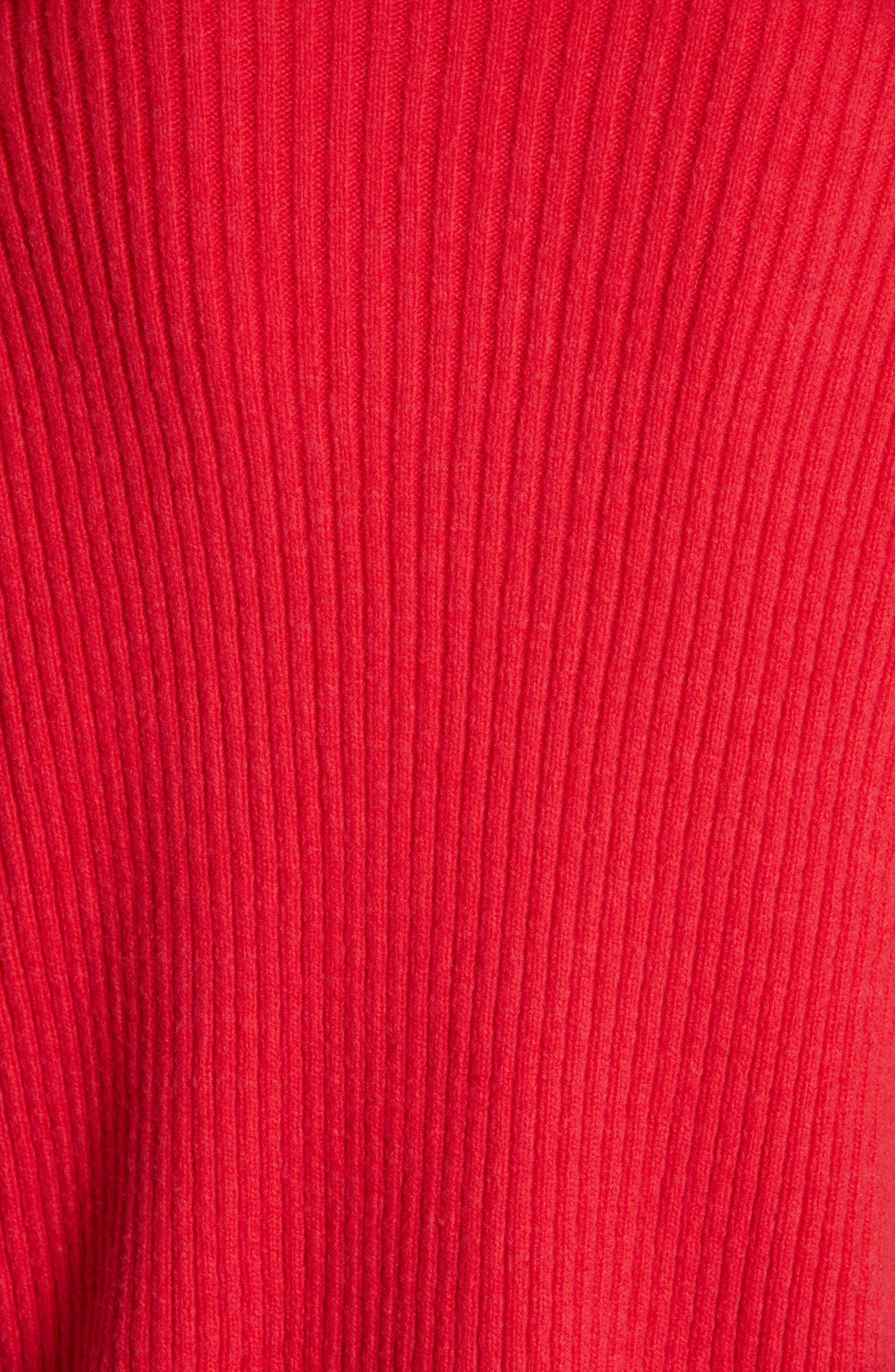 ST. JOHN COLLECTION, Cable Knit Cardigan, Alternate thumbnail 6, color, CRIMSON