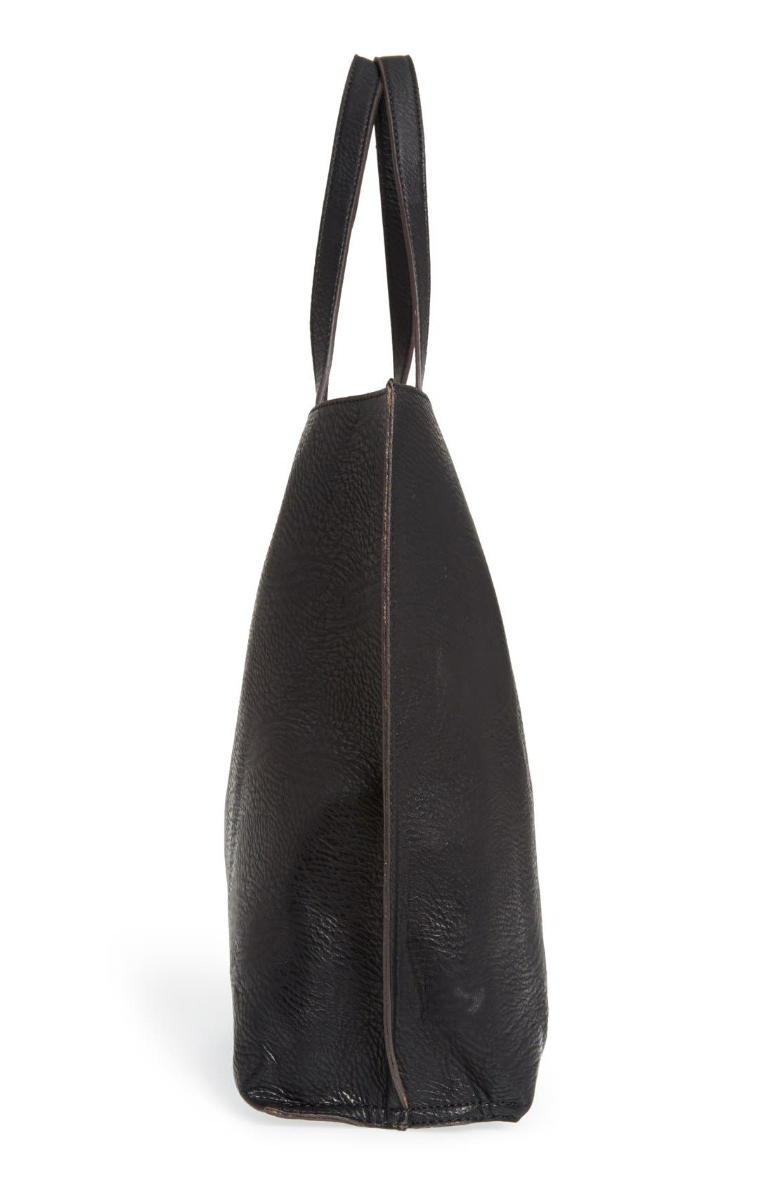 STREET LEVEL, Reversible Faux Leather Tote, Alternate thumbnail 5, color, 004