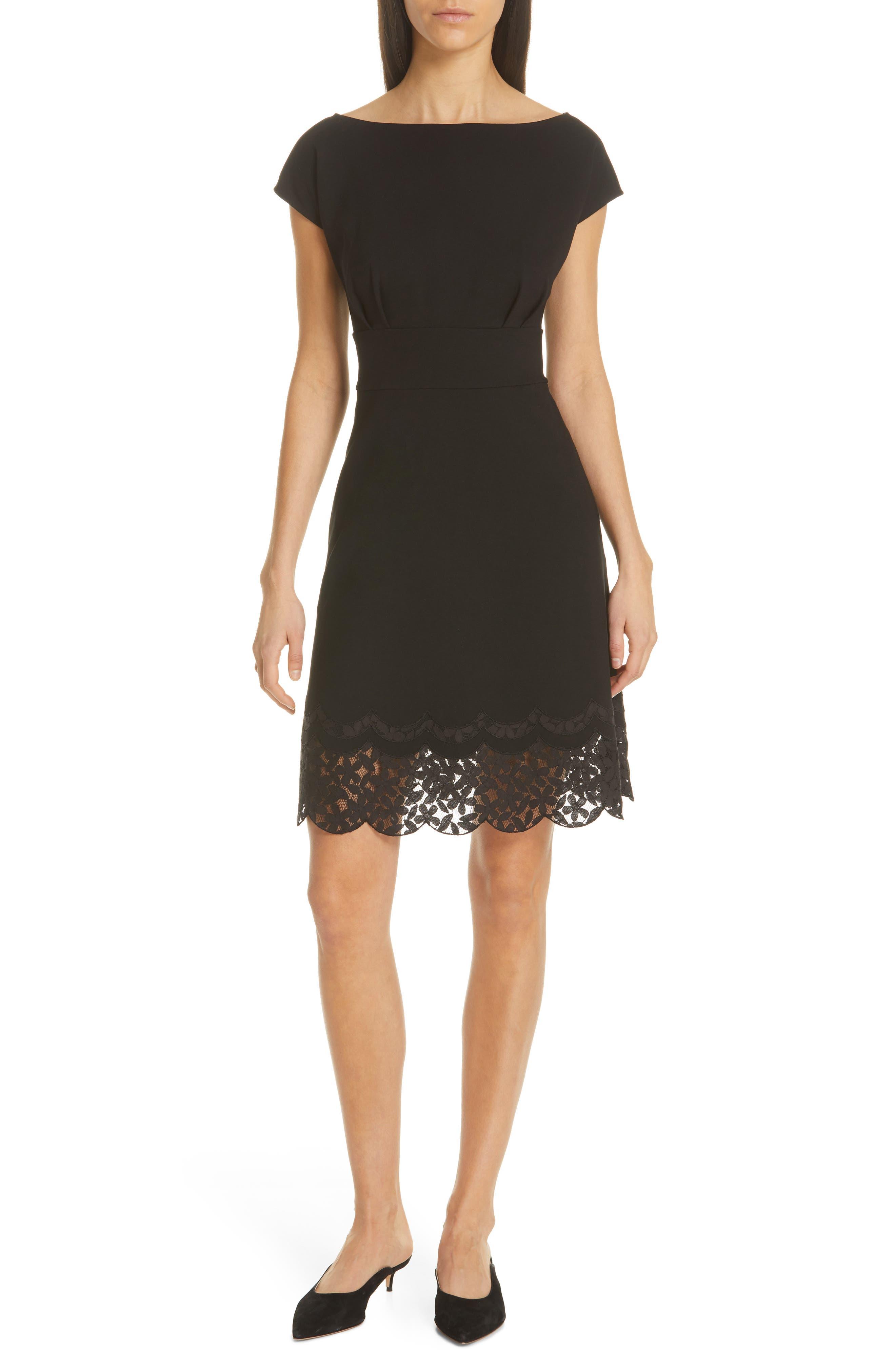 Kate Spade New York Fiorella Lace Trim Dress, Black