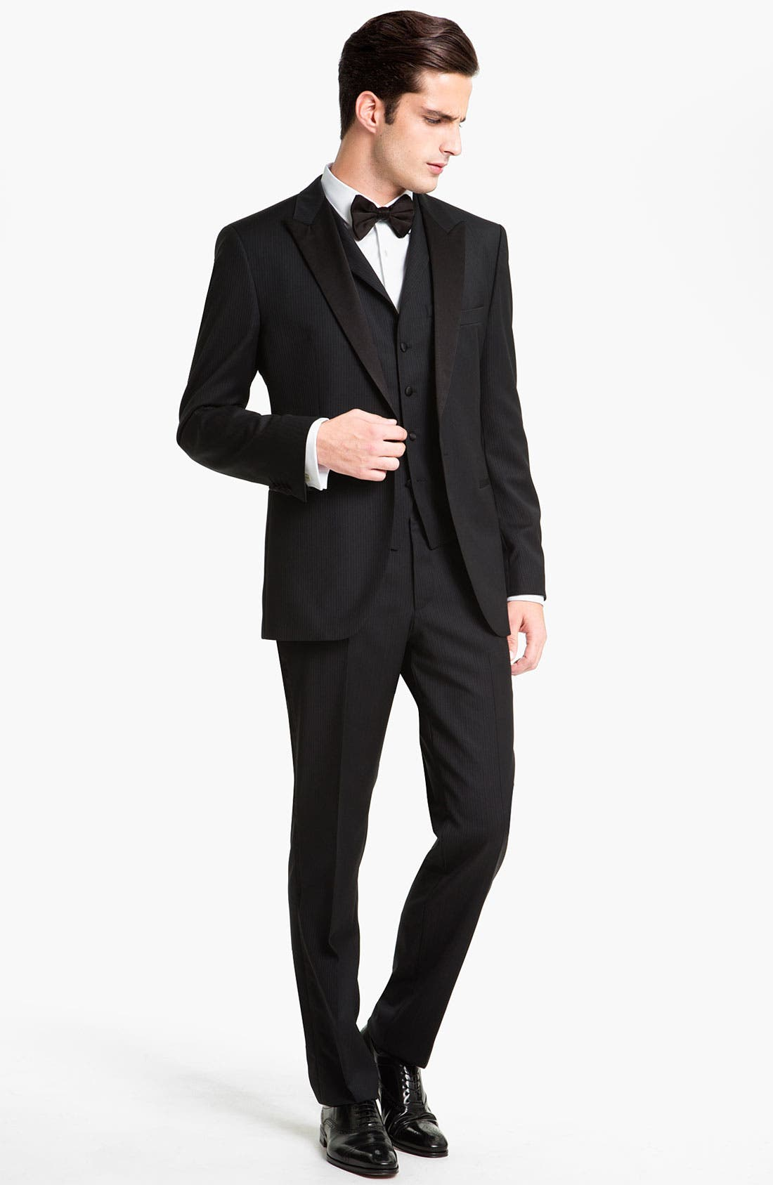 BOSS, Jameson Slim Fit Diamond Weave French Cuff Tuxedo Shirt, Alternate thumbnail 4, color, 120