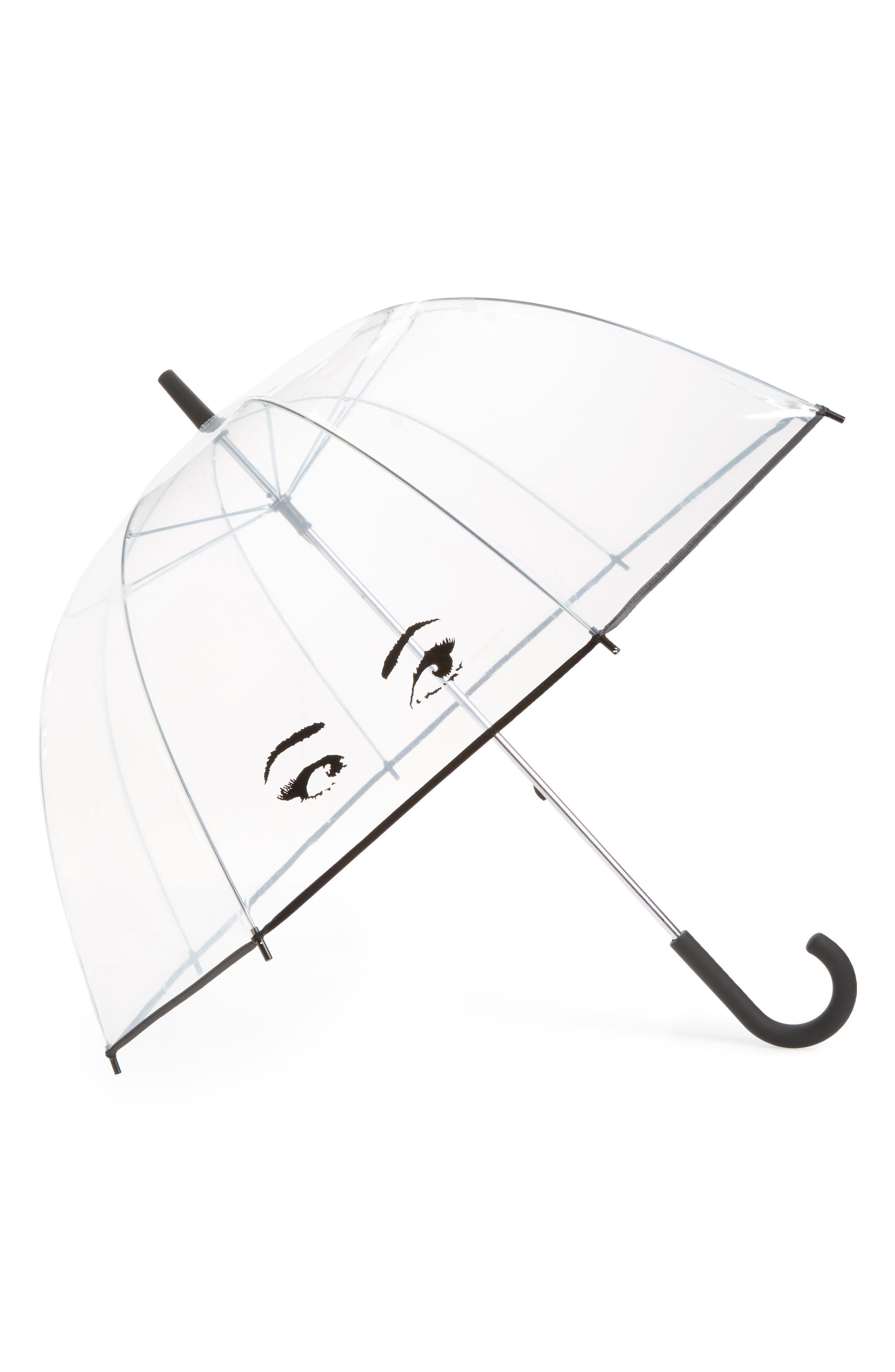 KATE SPADE NEW YORK clear eyes umbrella, Main, color, 001