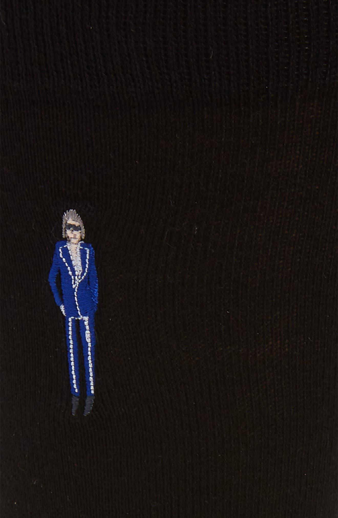PAUL SMITH, Embroidered People Socks, Alternate thumbnail 2, color, BLACK