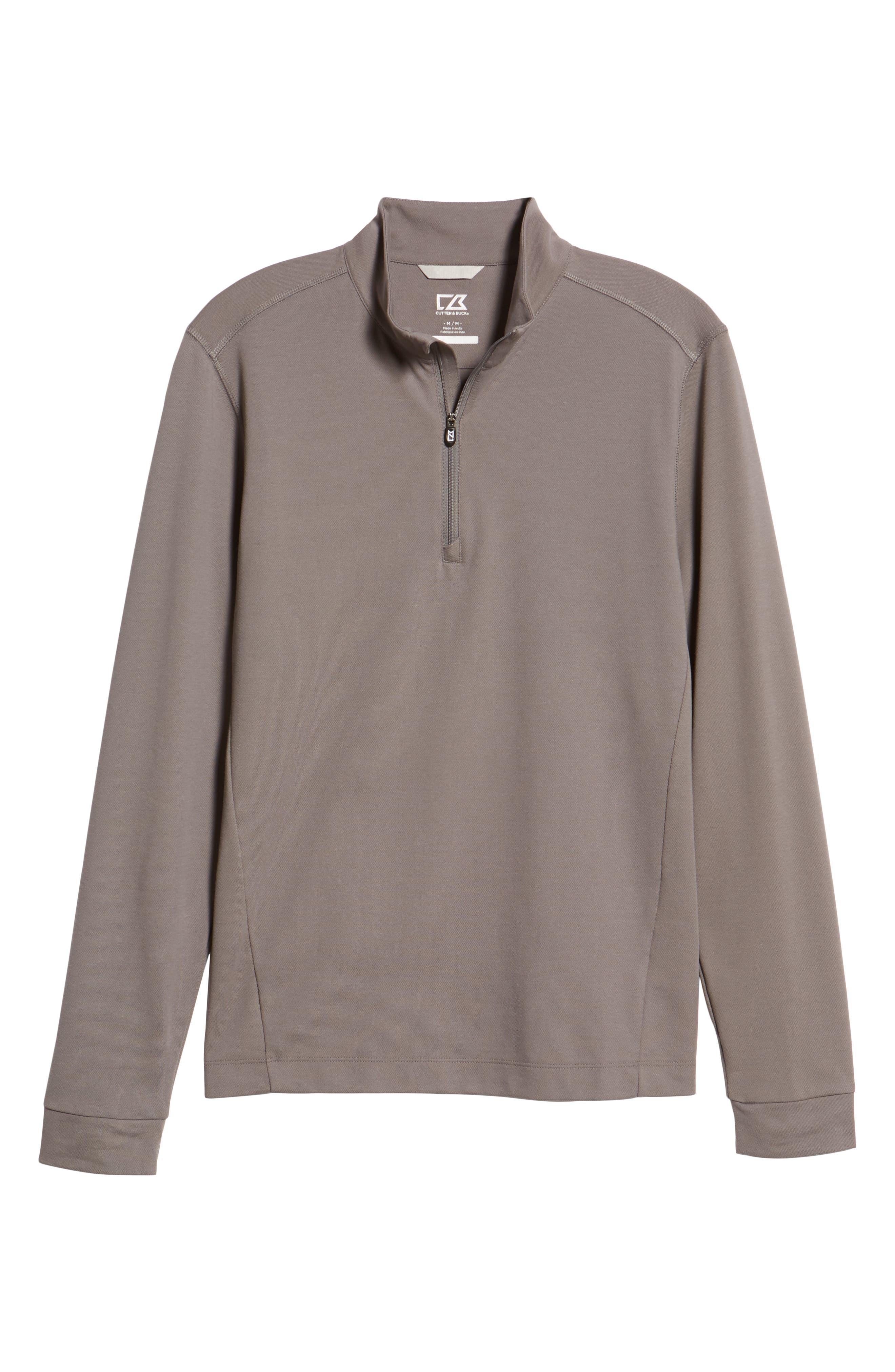 CUTTER & BUCK, Advantage Regular Fit DryTec Mock Neck Pullover, Alternate thumbnail 6, color, ELEMENTAL GREY