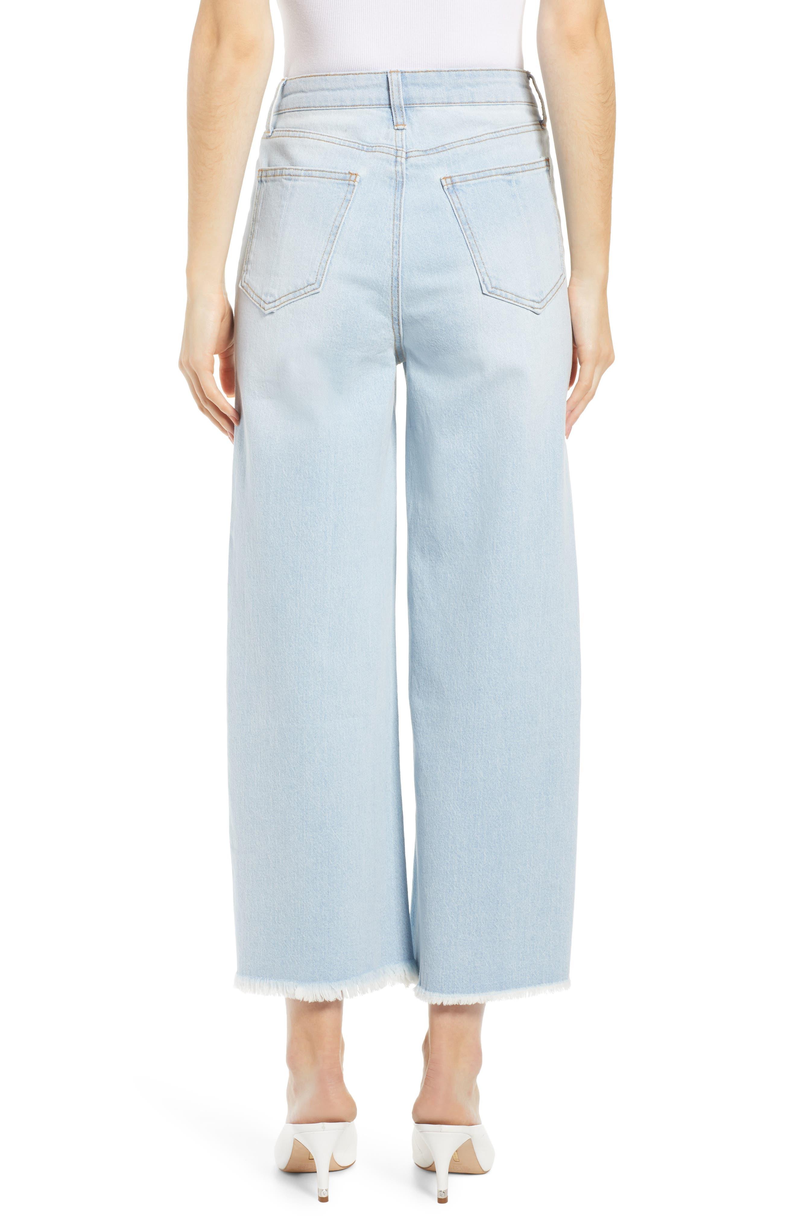 PROSPERITY DENIM, Fray Hem Wide Leg Crop Jeans, Alternate thumbnail 2, color, LIGHT WASH