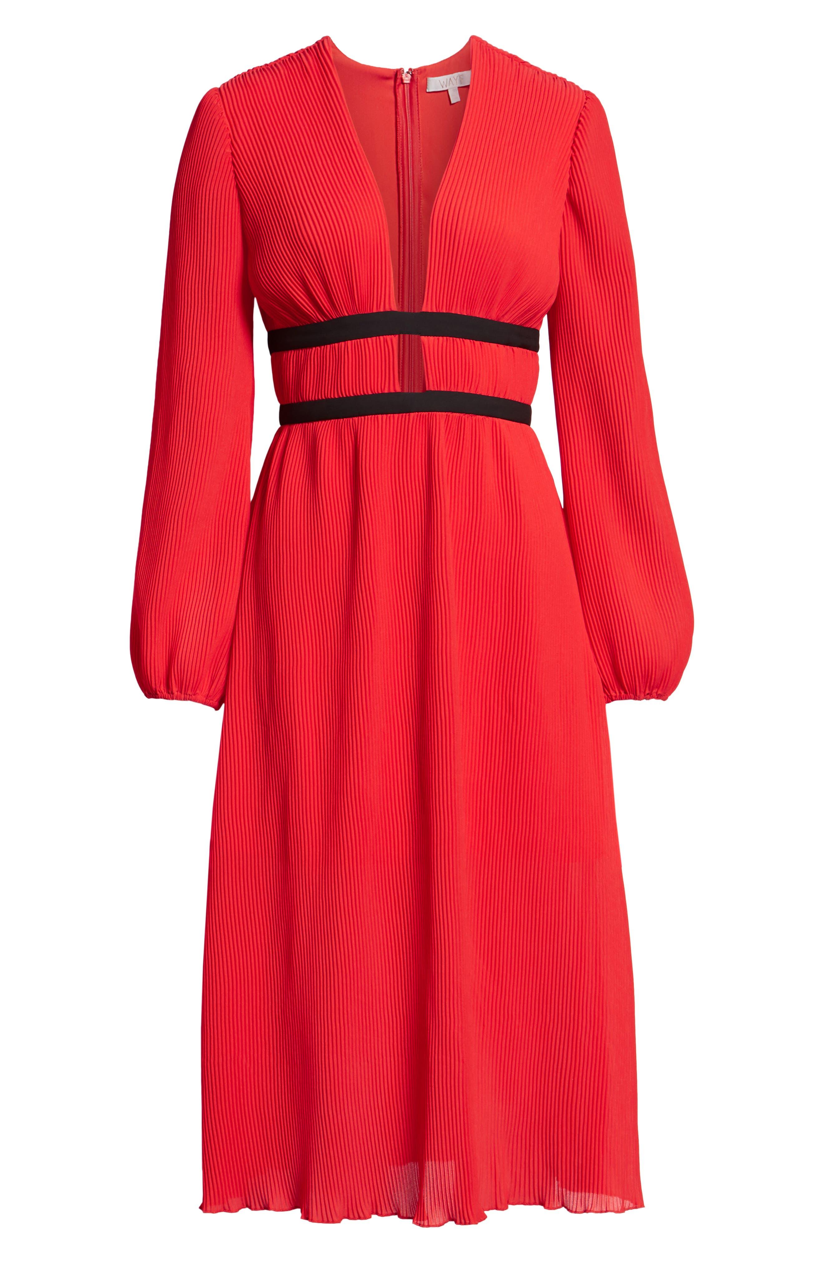 WAYF, Patton Plunge Plissé Dress, Alternate thumbnail 8, color, FIRE RED
