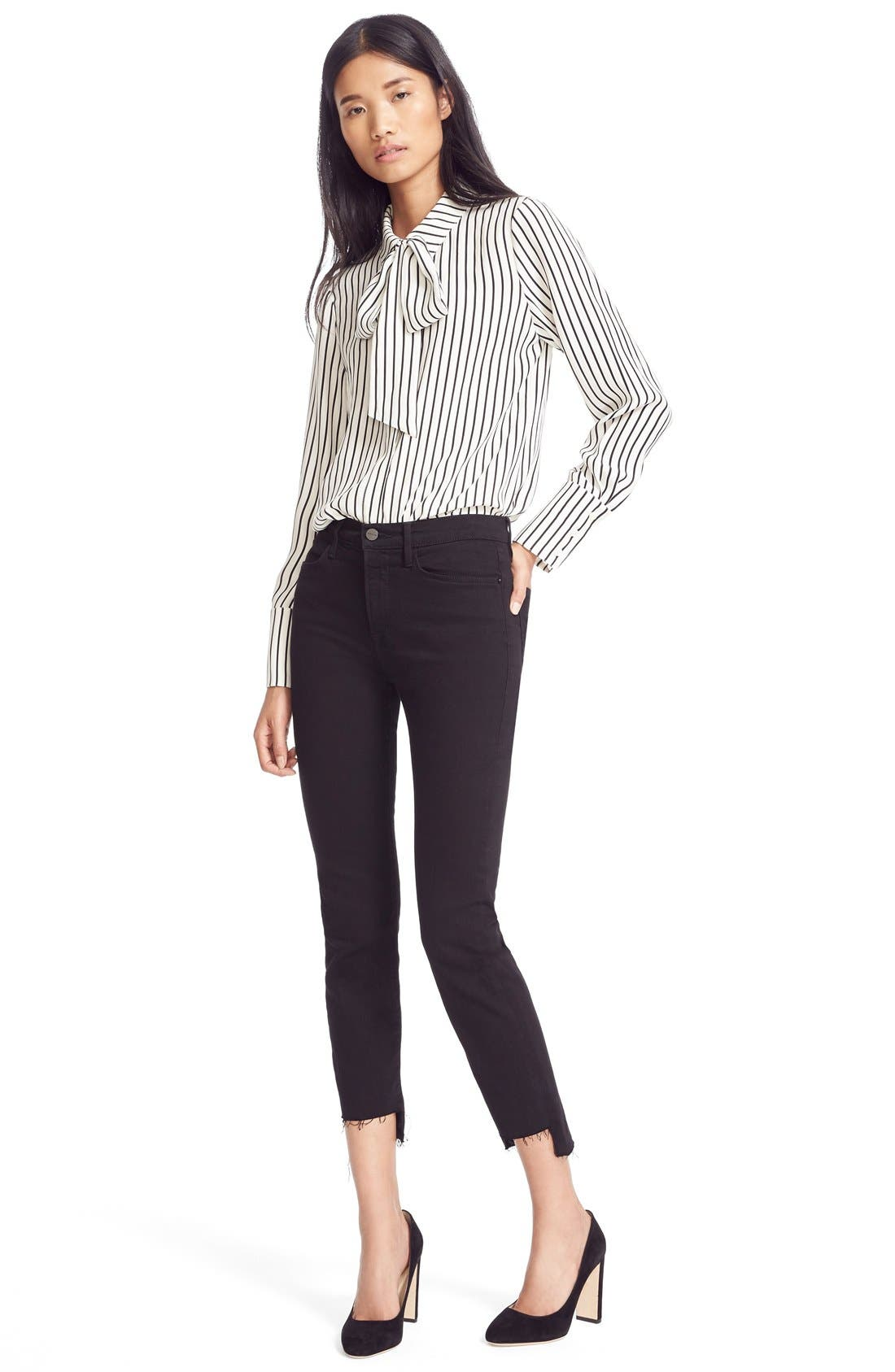 FRAME, Le High Straight High Waist Staggered Hem Jeans, Alternate thumbnail 7, color, FILM NOIR