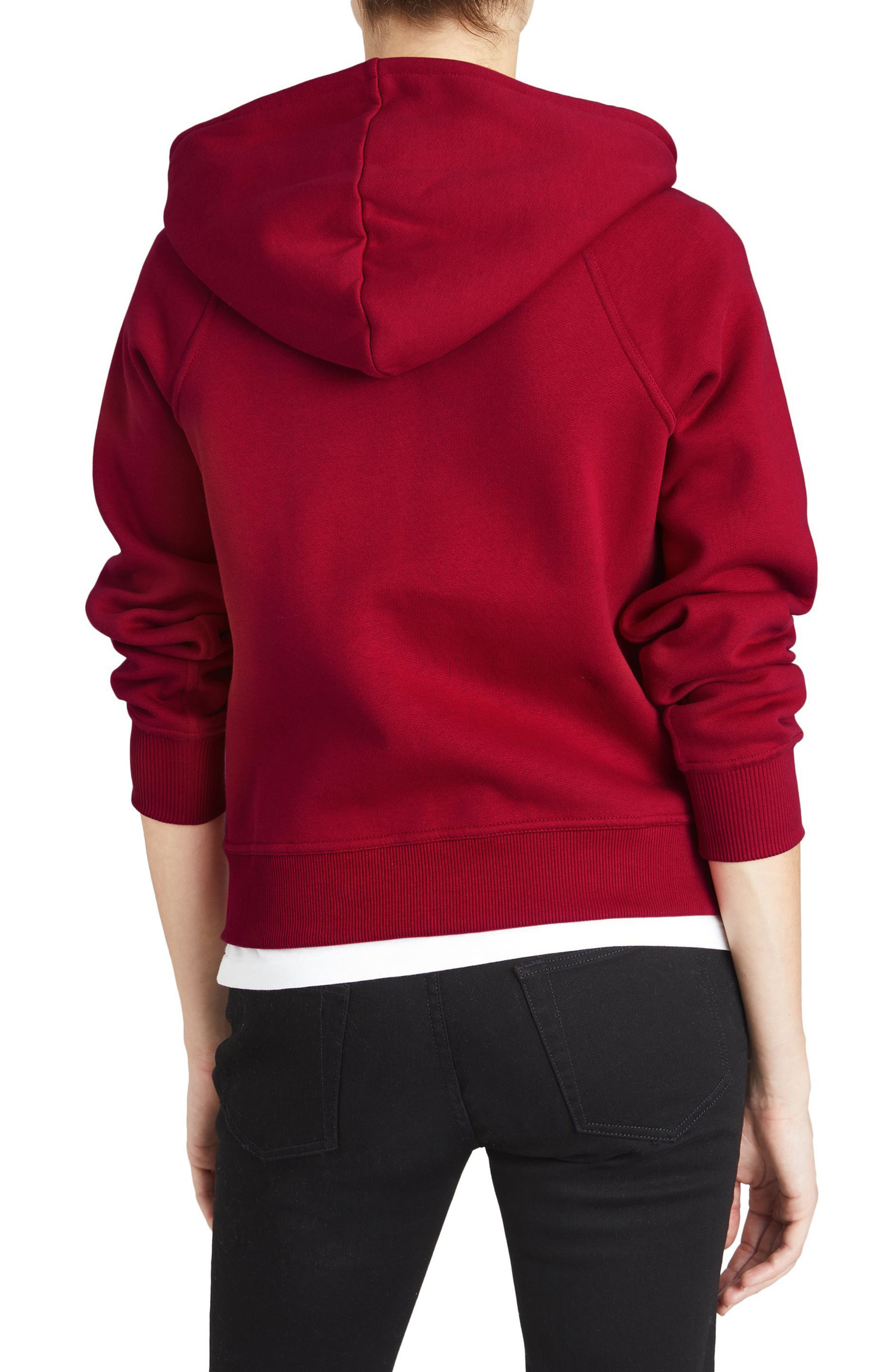 BURBERRY, Check Print Hoodie, Alternate thumbnail 2, color, PARADE RED