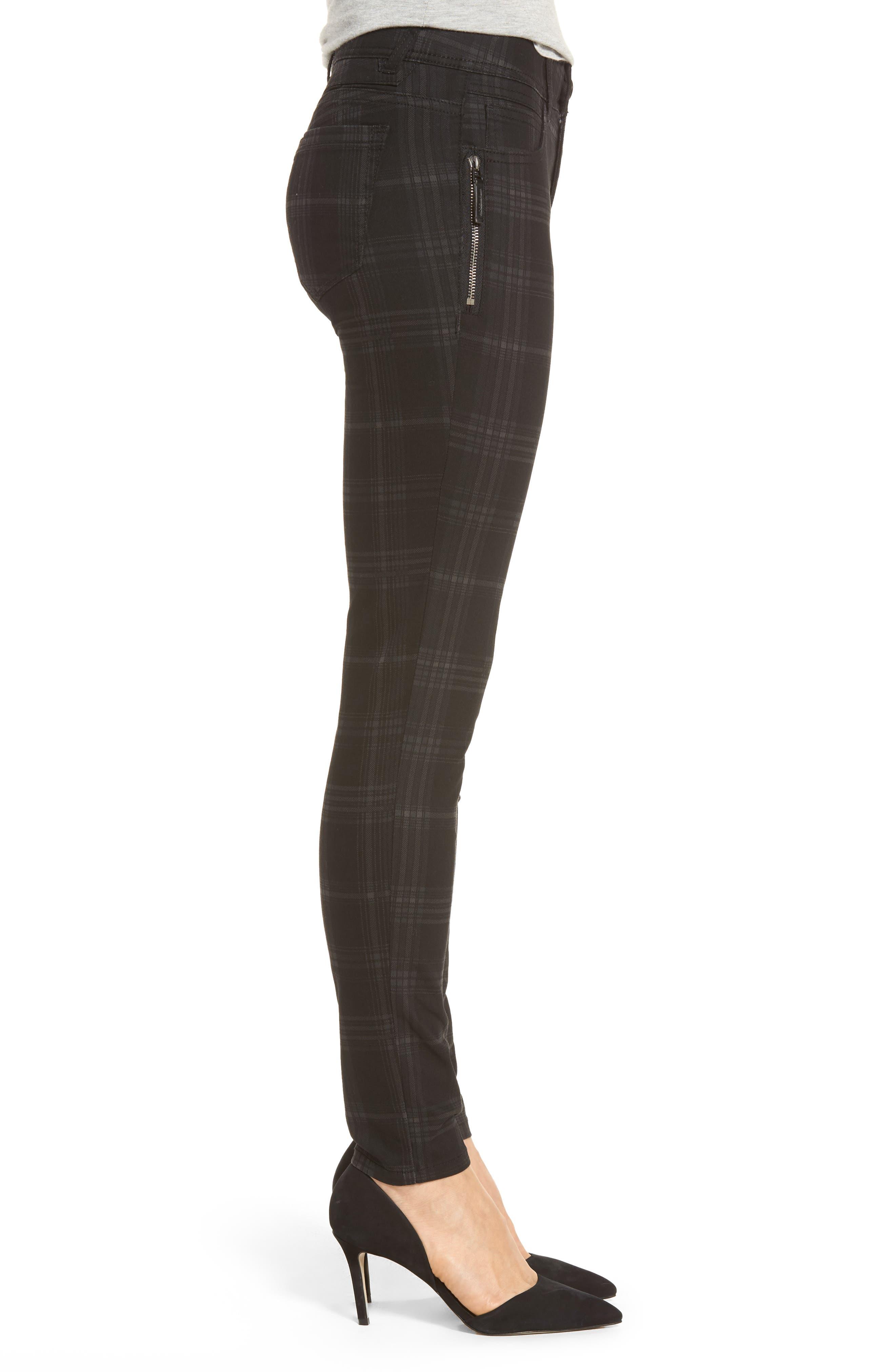 WIT & WISDOM, Ab-solution Side Zip Plaid Skinny Pants, Alternate thumbnail 4, color, BLACK