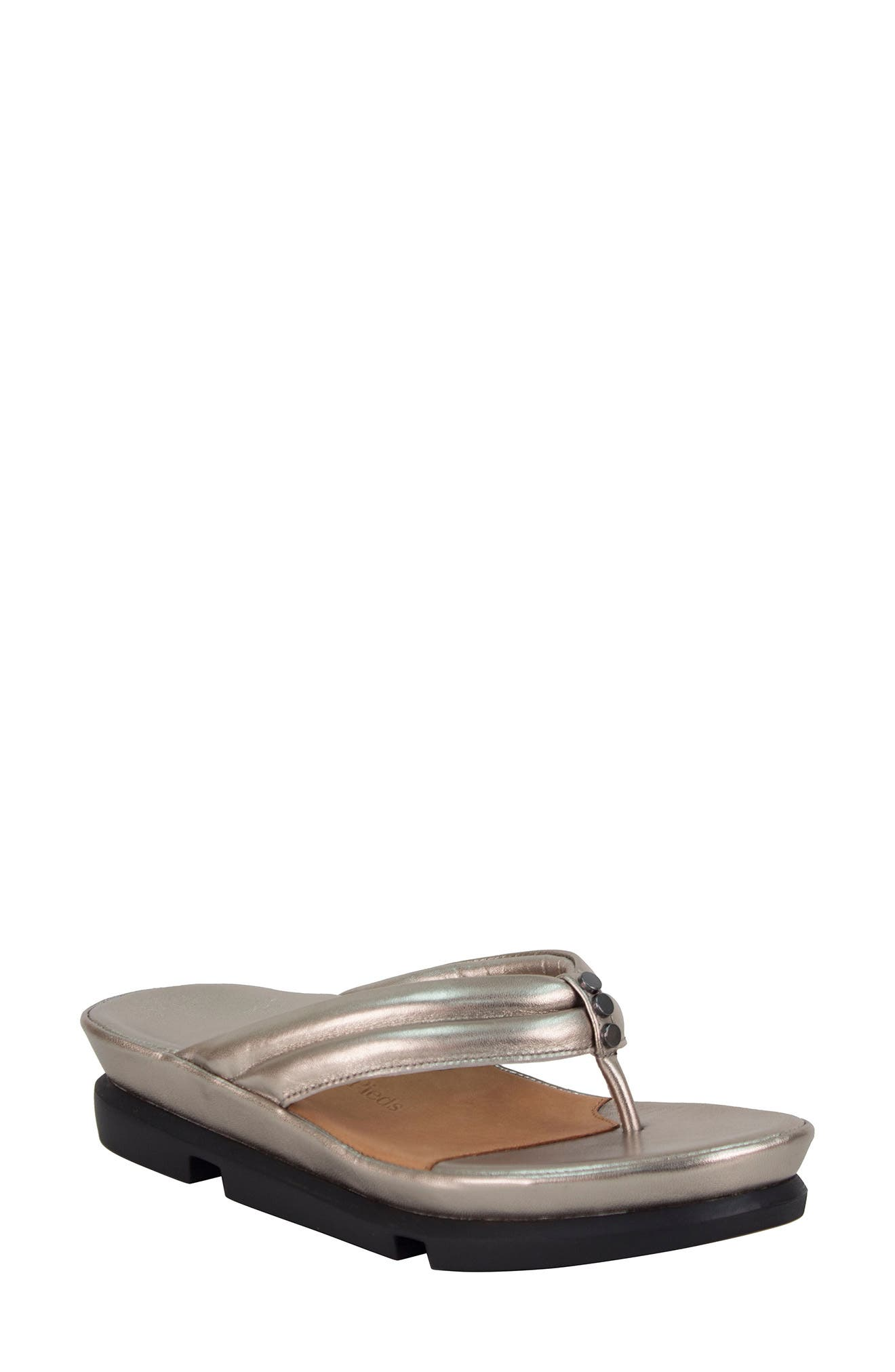 L'AMOUR DES PIEDS, Villapapavero Flip Flop, Main thumbnail 1, color, PEWTER LEATHER