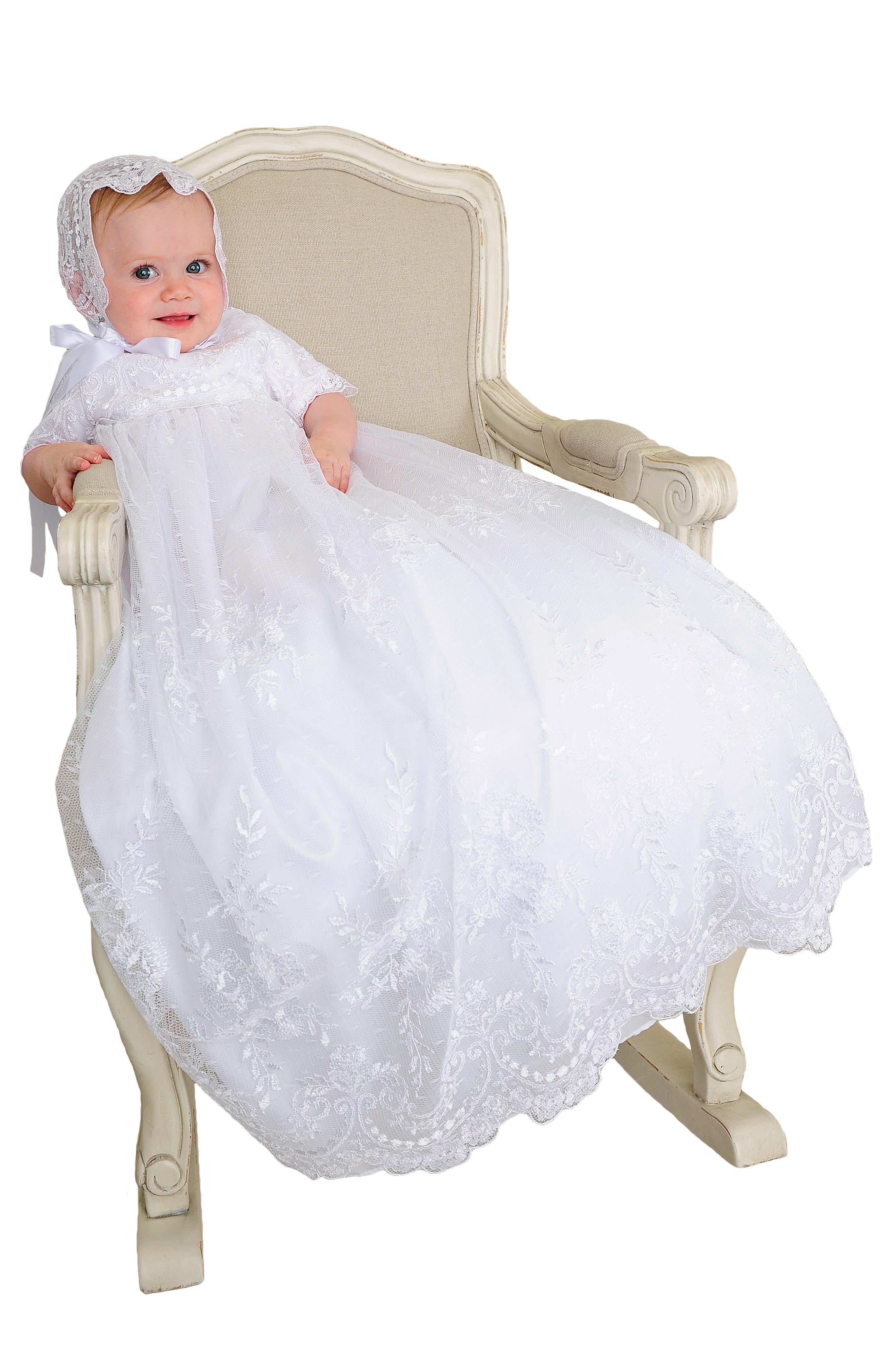 LITTLE THINGS MEAN A LOT, Christening Gown, Shawl, Slip & Bonnet Set, Alternate thumbnail 6, color, WHITE