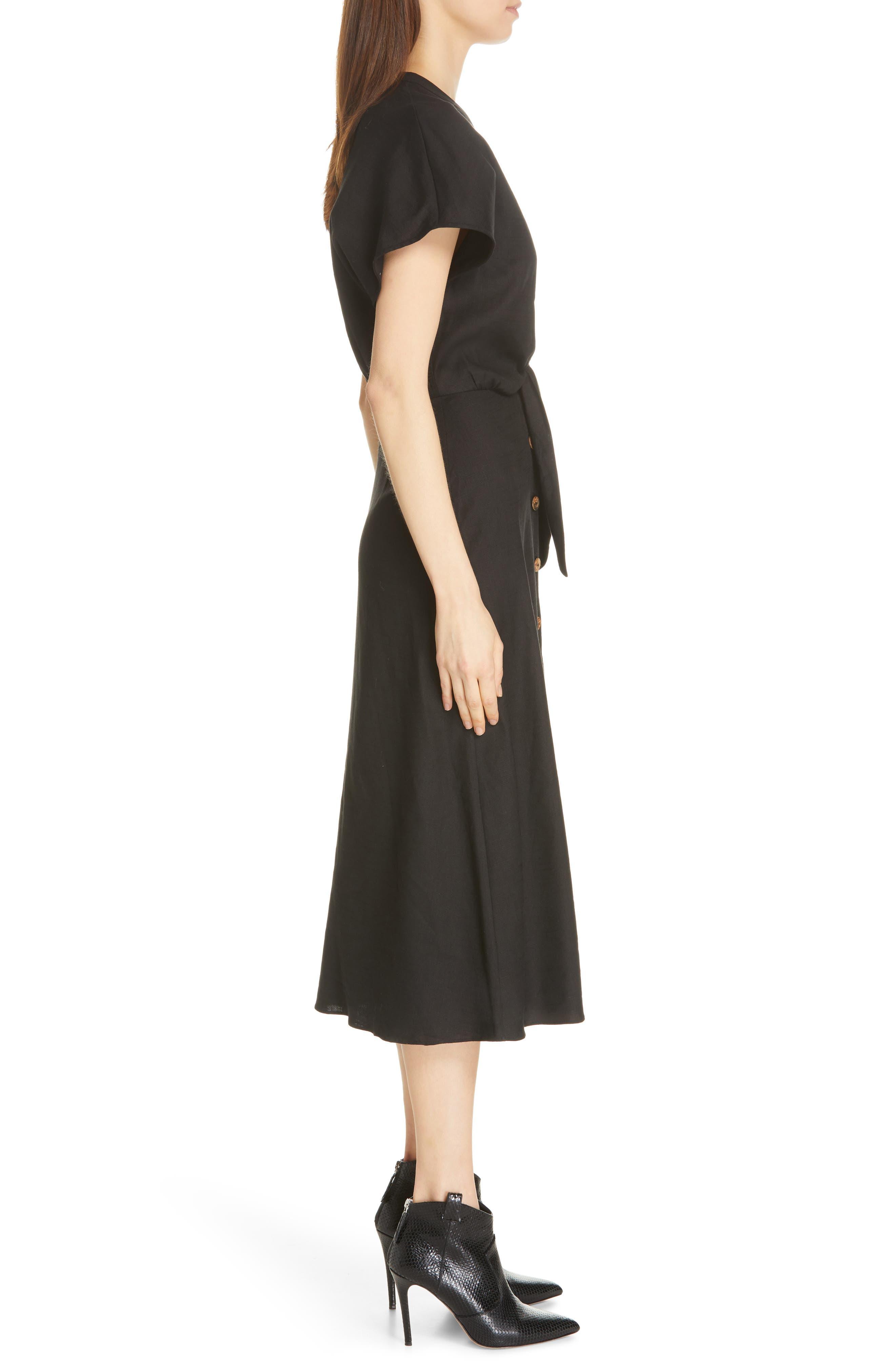 VERONICA BEARD, Giana Tie Waist Linen Blend Midi Dress, Alternate thumbnail 4, color, BLACK