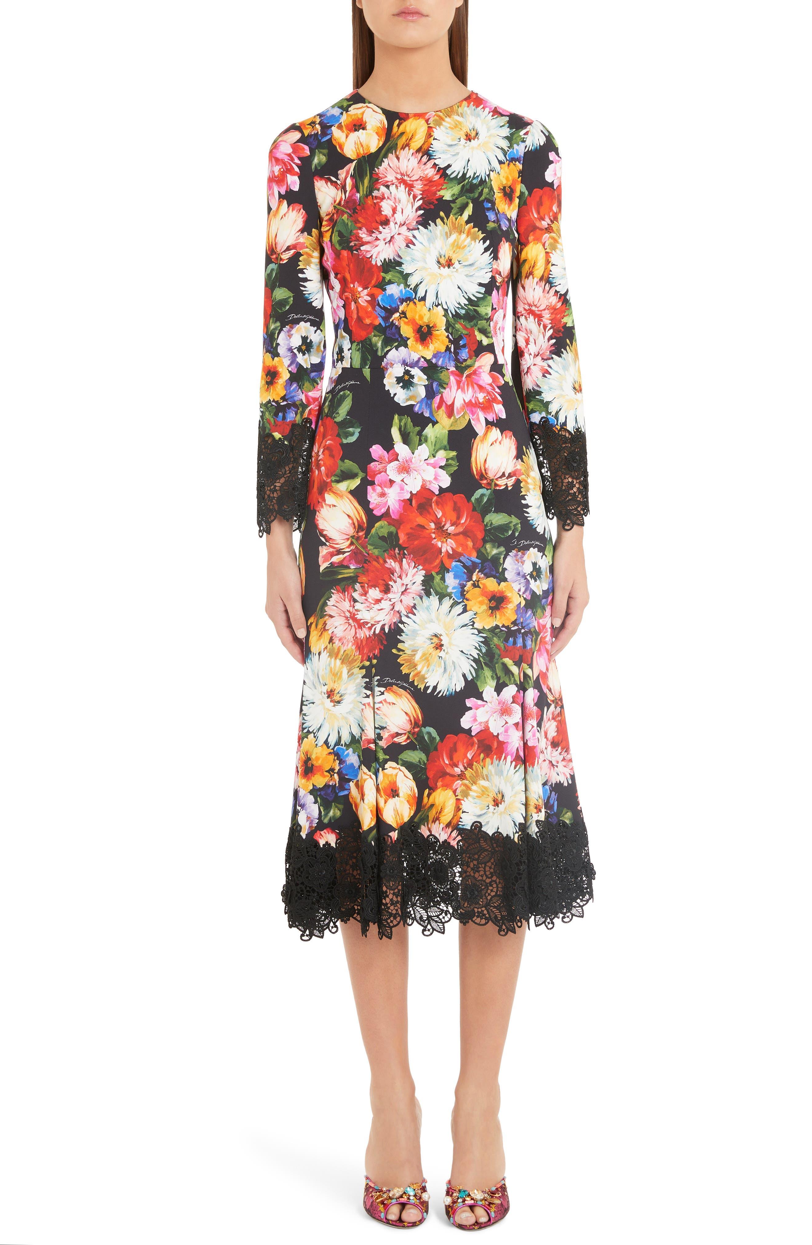 Dolce & gabbana Floral Print Lace Detail Cady Dress, US / 40 IT - Black