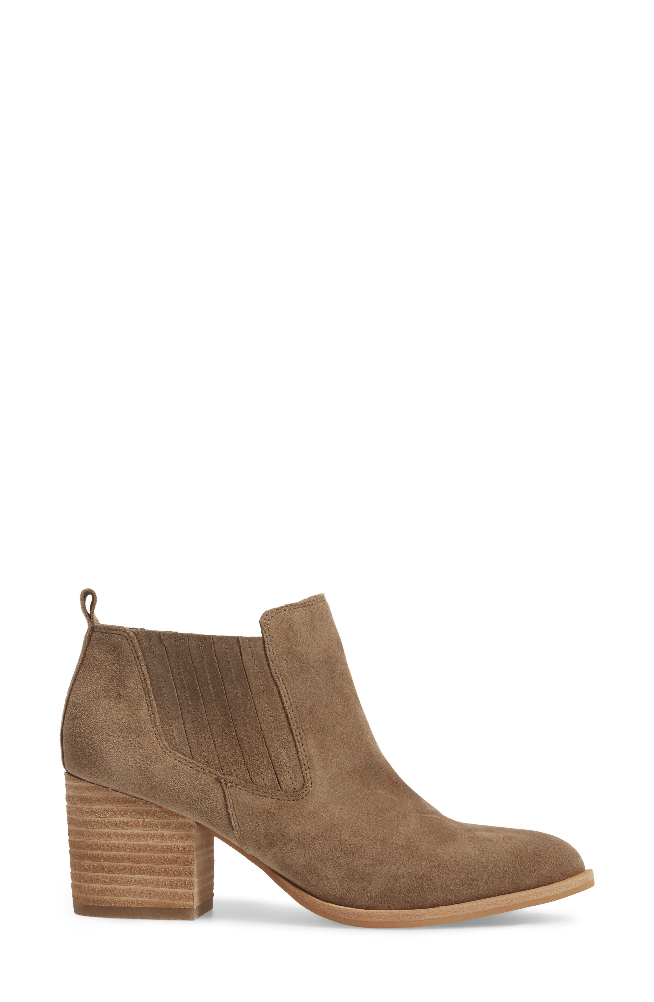 ISOLÁ, Olicia Gored Bootie, Alternate thumbnail 3, color, MARMOTTA LIGHT GREY SUEDE