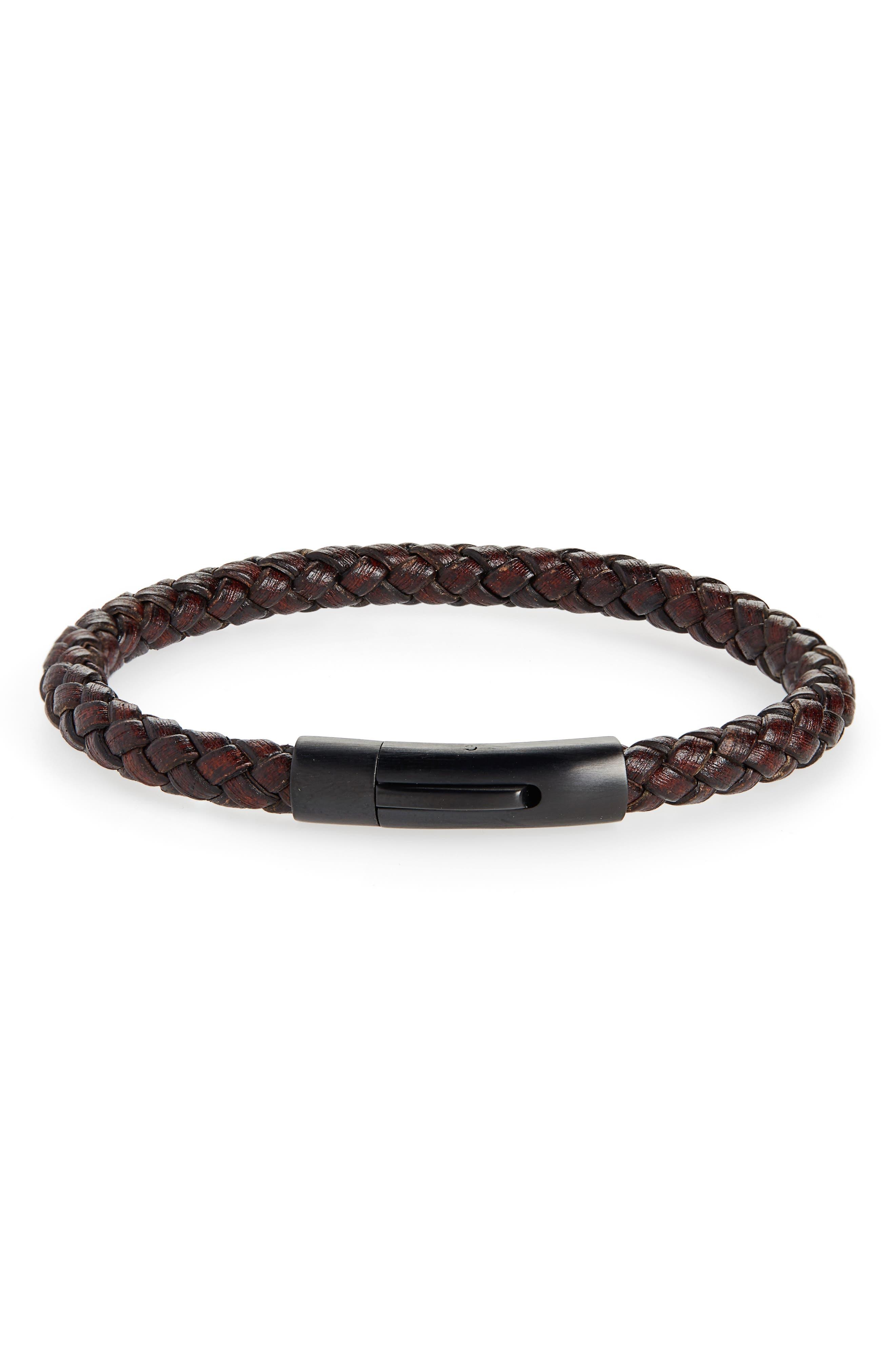 NORDSTROM MEN'S SHOP Braided Leather ID Bracelet, Main, color, BROWN/ BLACK