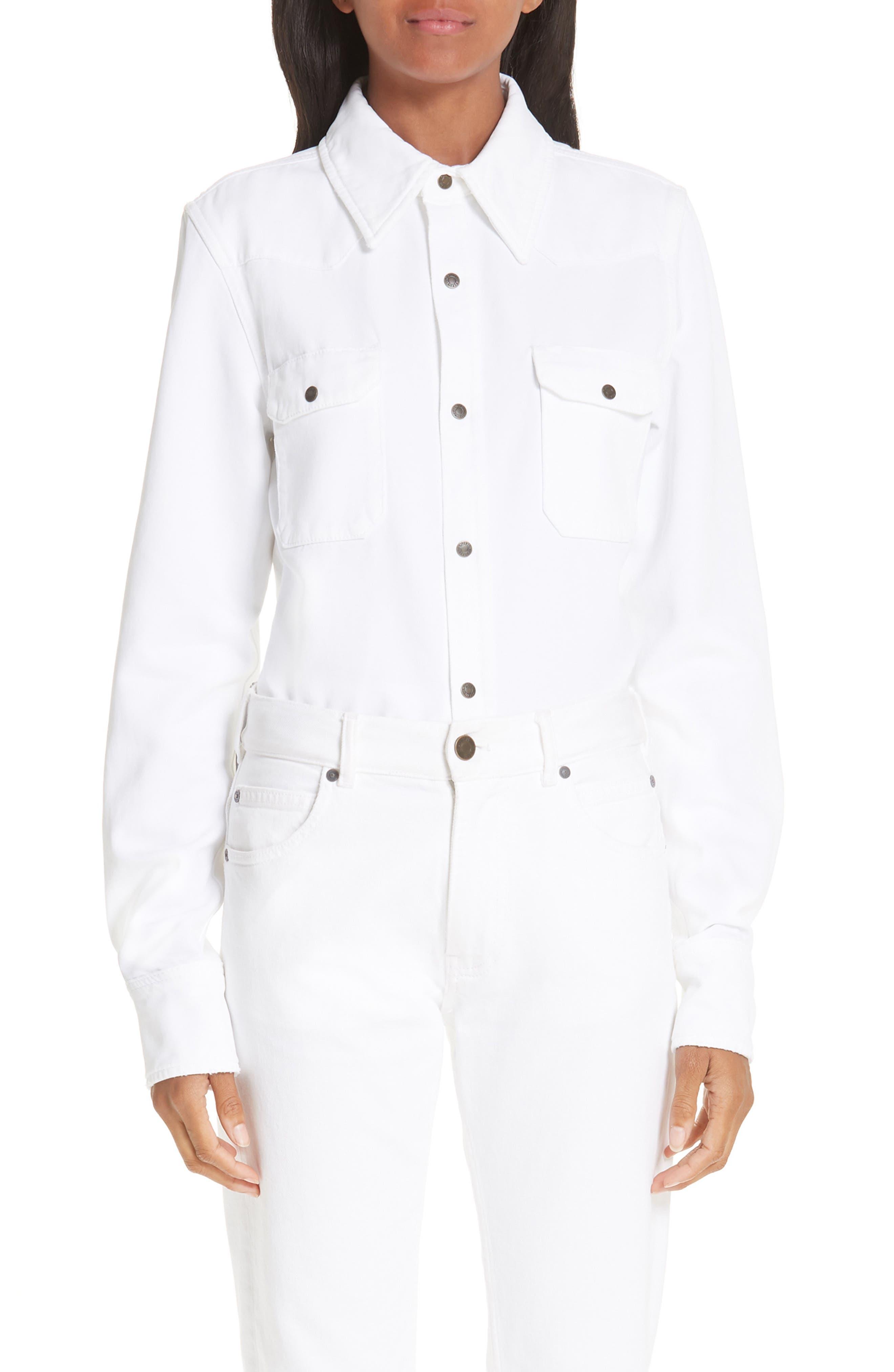 CALVIN KLEIN 205W39NYC, Denim Shirt, Main thumbnail 1, color, OPTIC WHITE