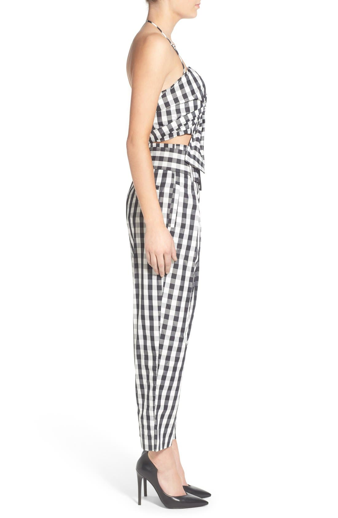 KENDALL + KYLIE, Gingham High Rise Crop Pants, Alternate thumbnail 5, color, 003