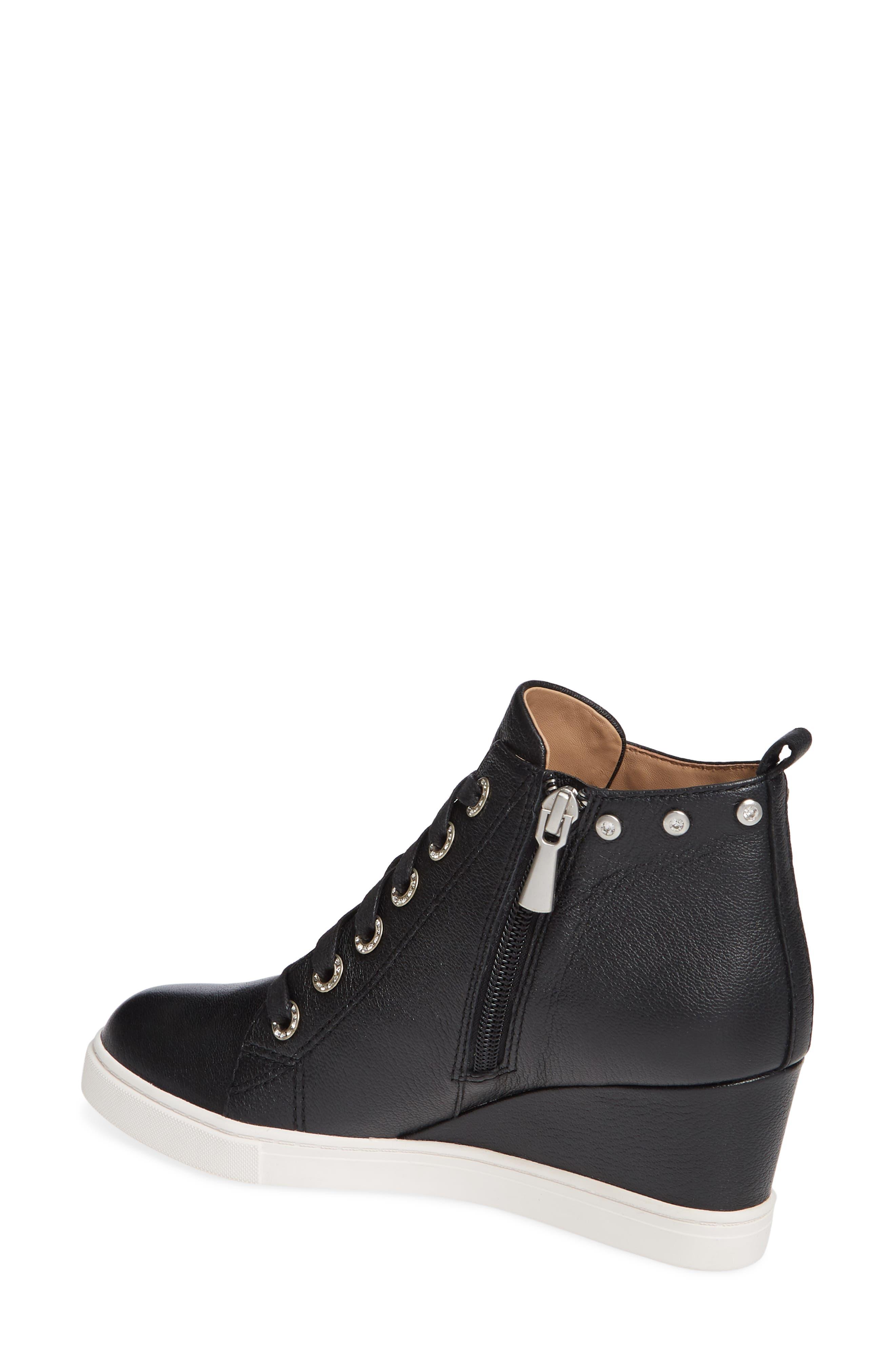 LINEA PAOLO, Flint Wedge Sneaker, Alternate thumbnail 2, color, BLACK LEATHER