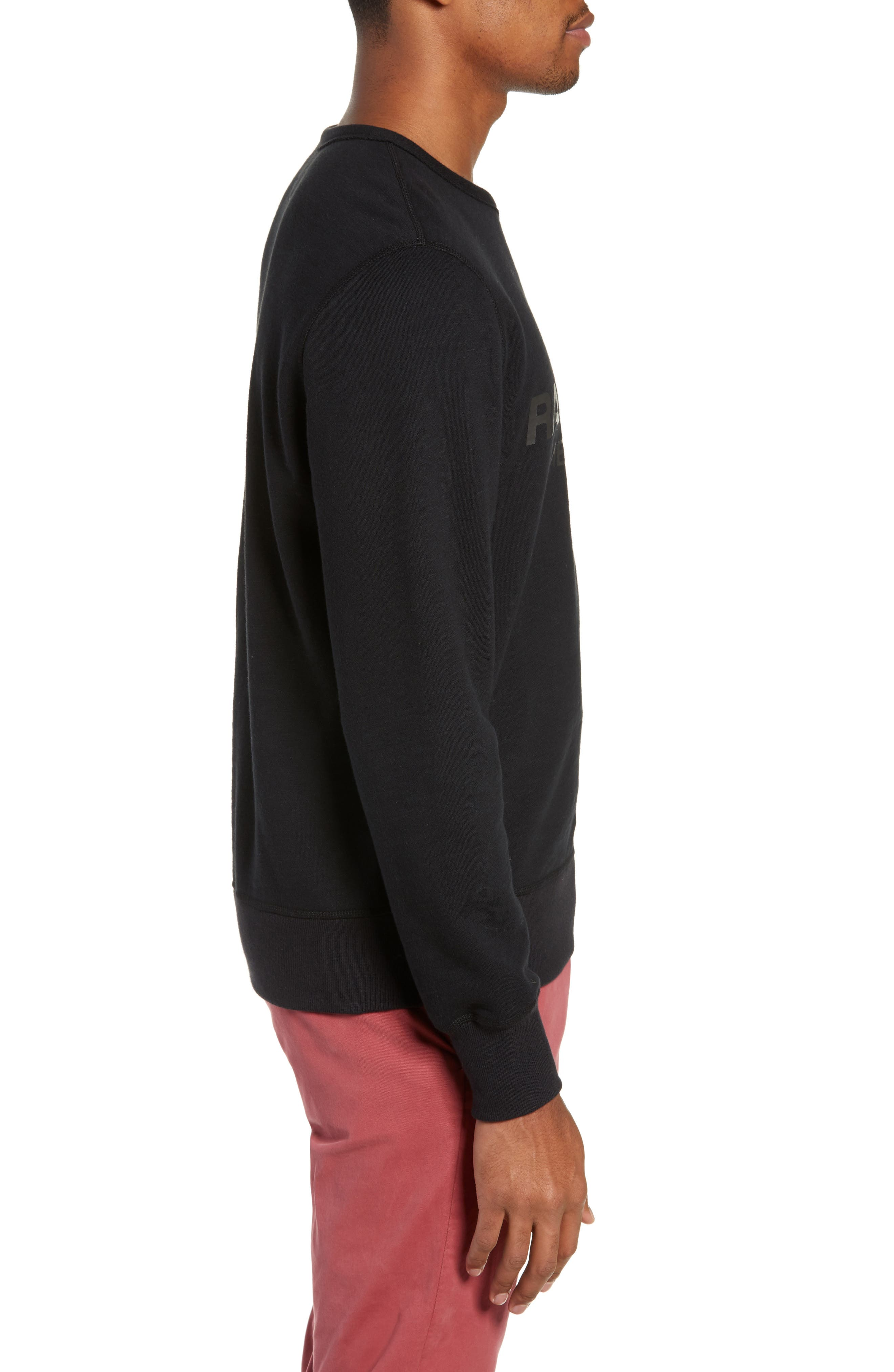 RAG & BONE, Regular Upside Down Sweatshirt, Alternate thumbnail 3, color, 001