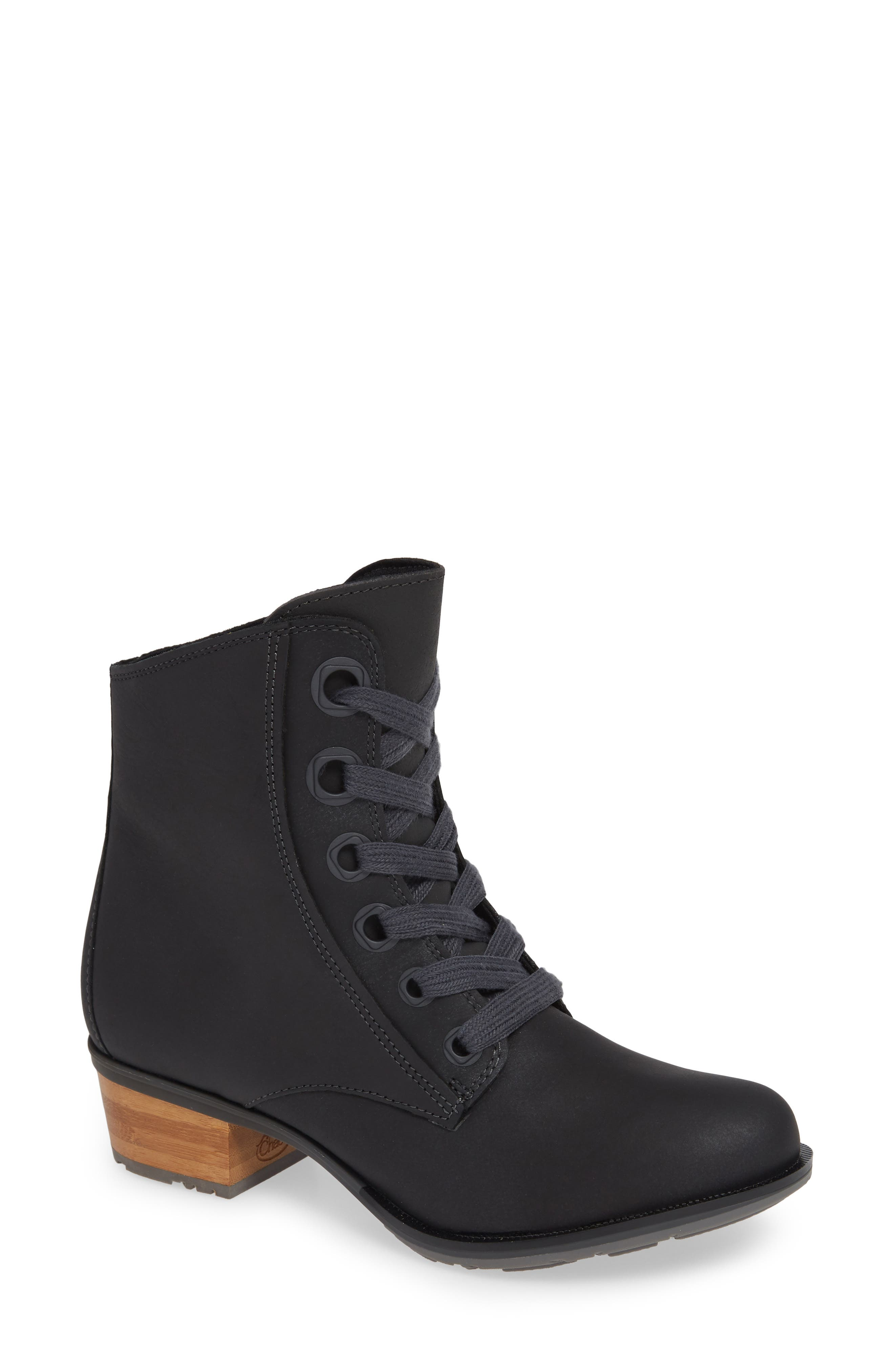 CHACO, Cataluna Waterproof Lace-Up Boot, Main thumbnail 1, color, BLACK LEATHER