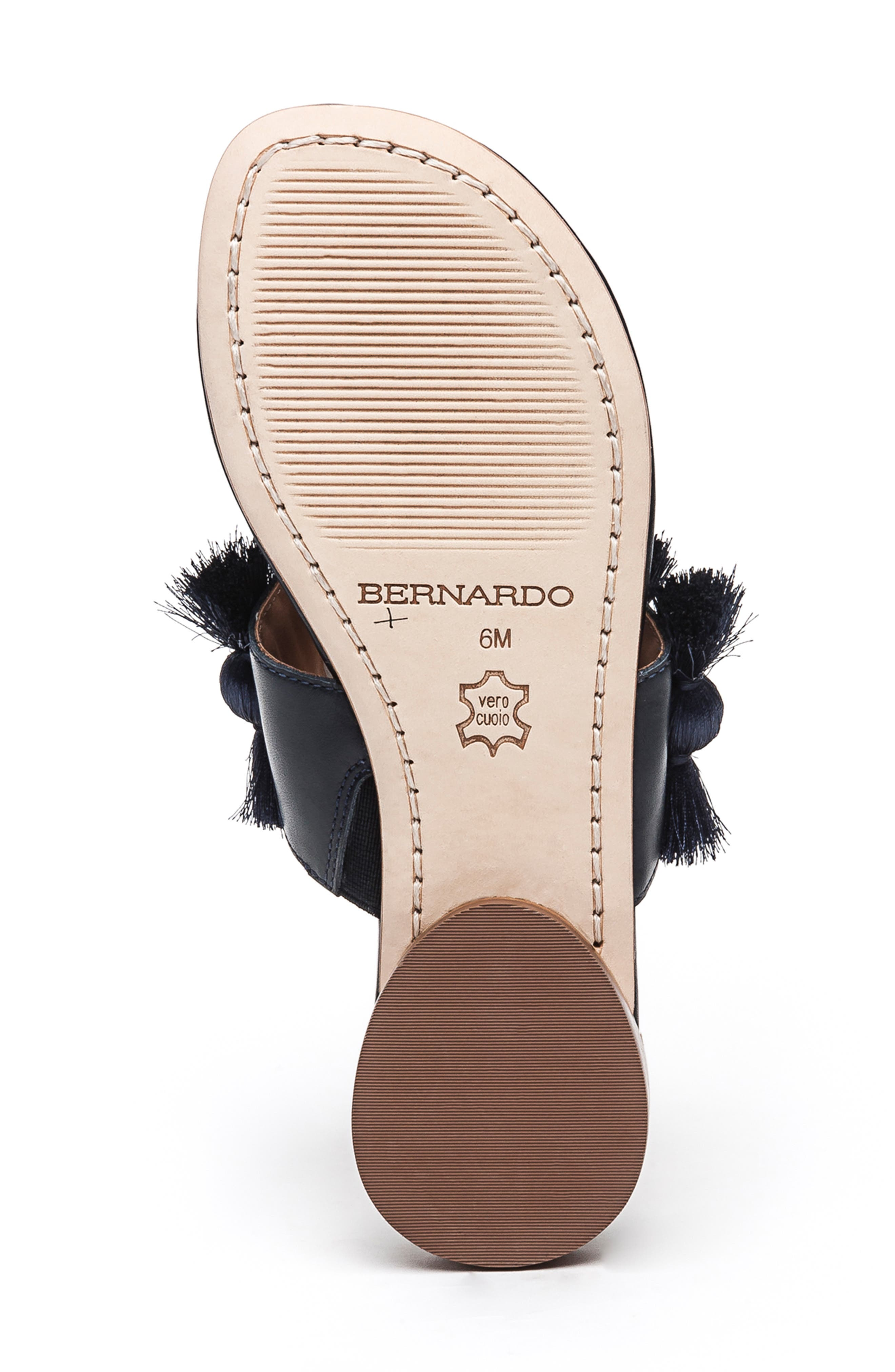 BERNARDO, Footwear Tara Flip Flop, Alternate thumbnail 6, color, NAVY ANTIQUE LEATHER