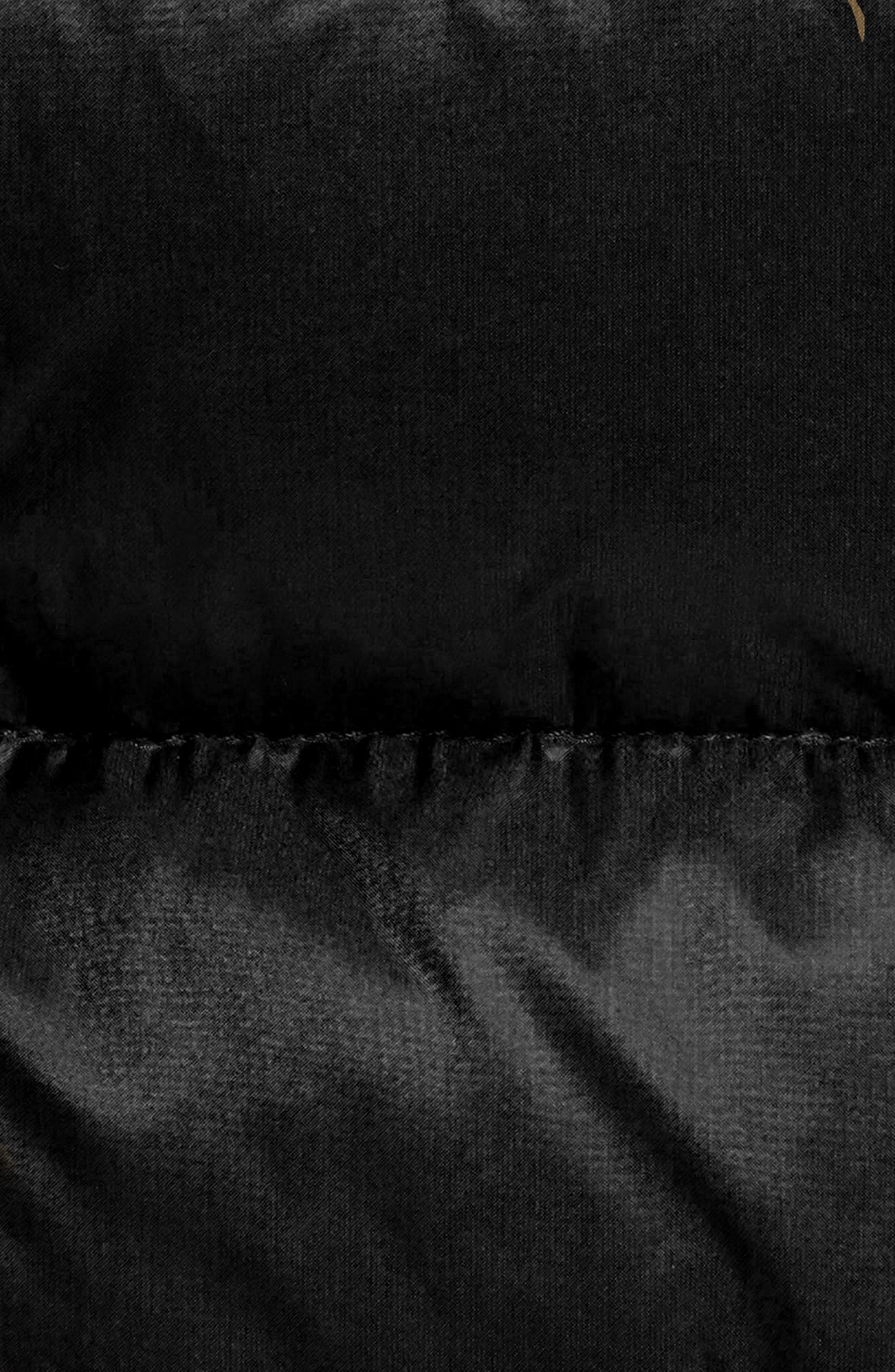 MONCLER, 'Hermine' Grosgrain Trim Water Resistant Down Coat, Alternate thumbnail 7, color, BLACK