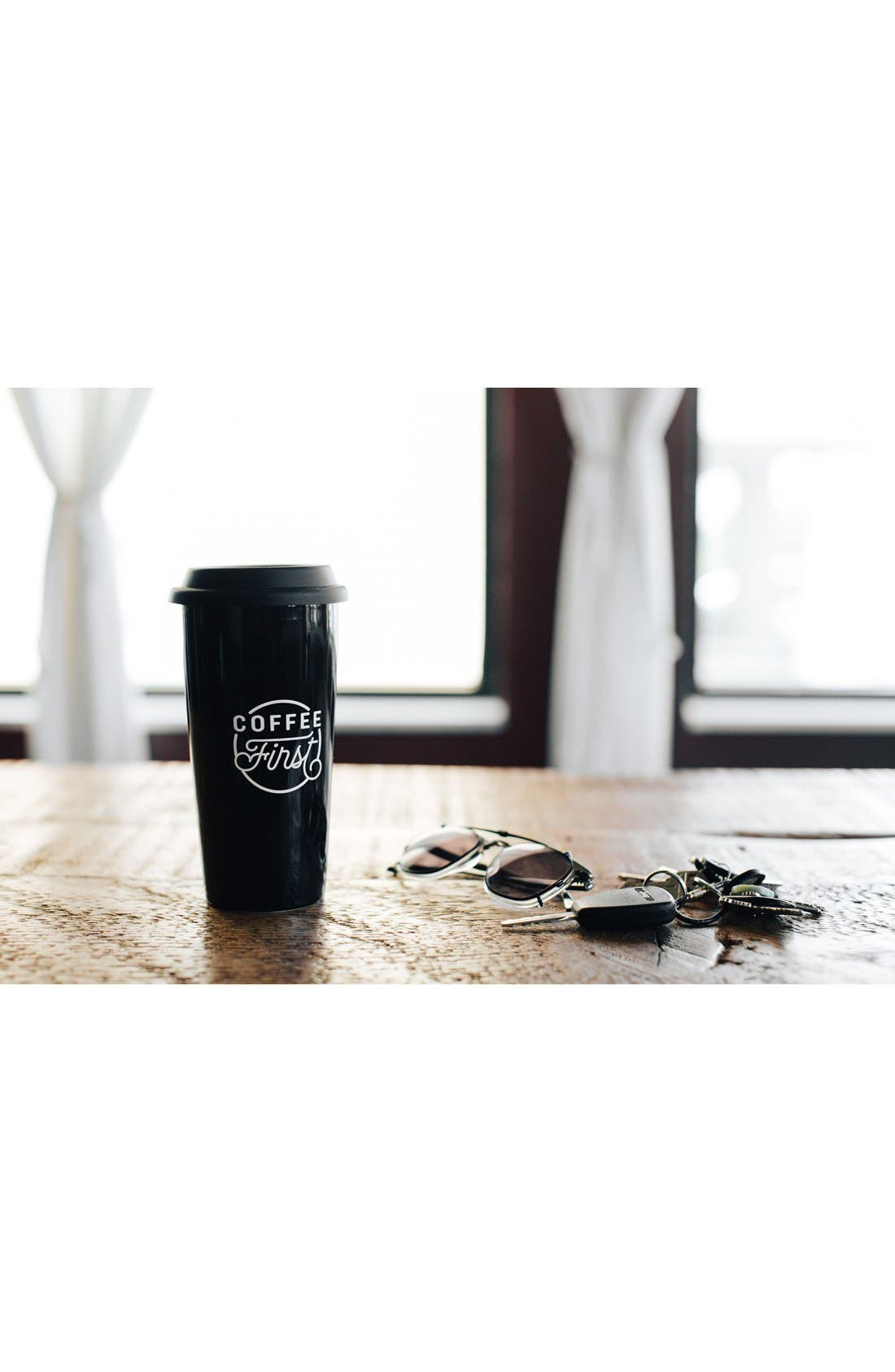THE CREATED CO., 'Coffee First' Travel Tumbler, Alternate thumbnail 5, color, 001