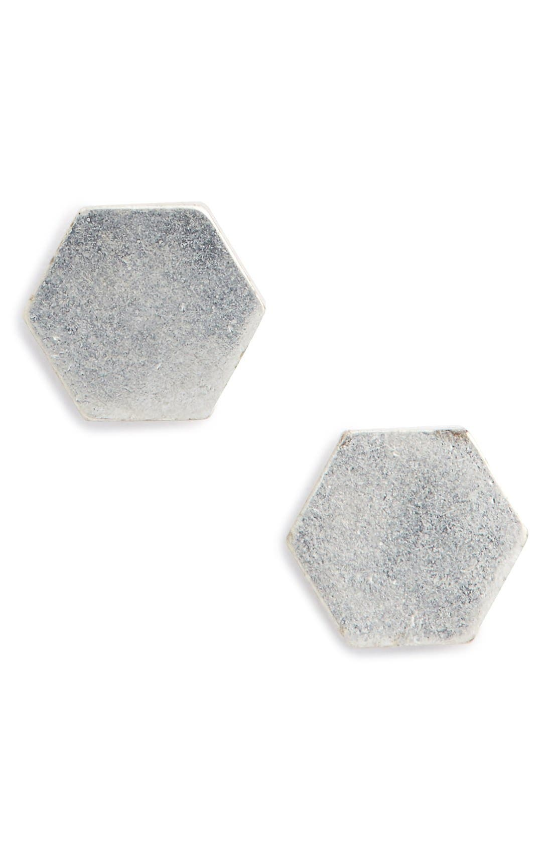 MADEWELL Shape Study Earrings, Main, color, LIGHT SILVER OX