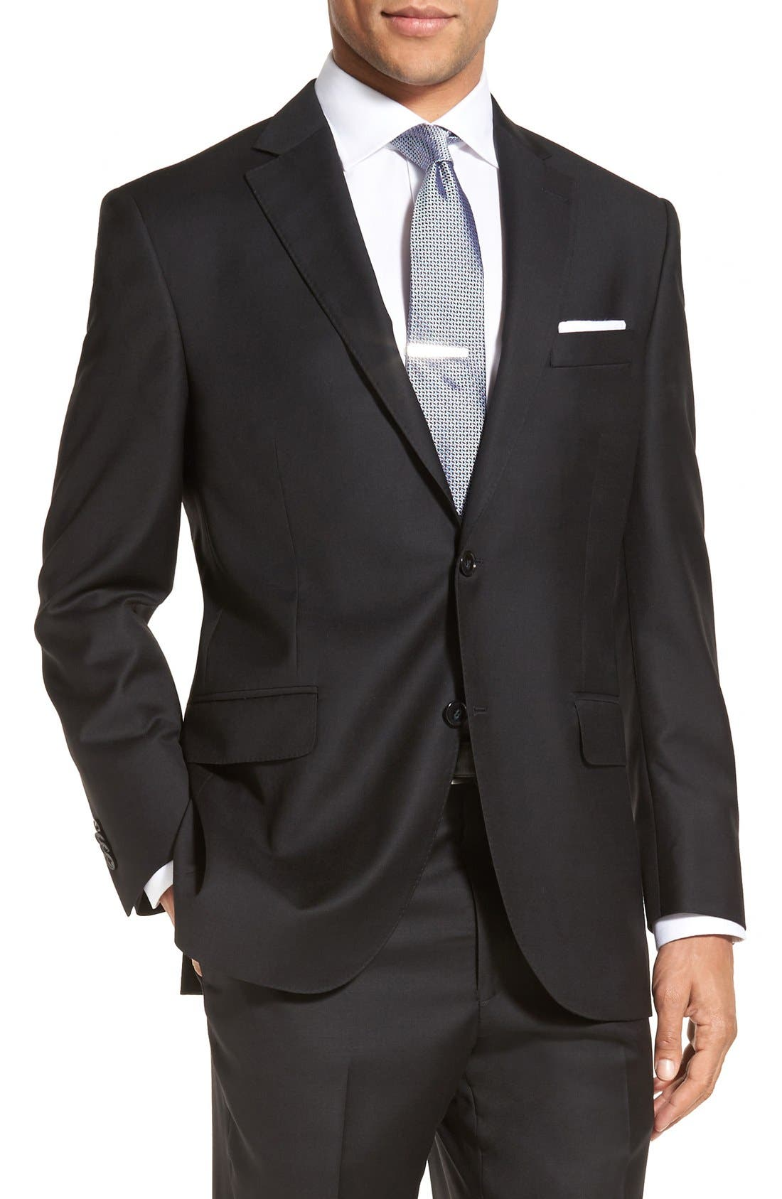 PETER MILLAR, Flynn Classic Fit Solid Wool Suit, Alternate thumbnail 6, color, BLACK