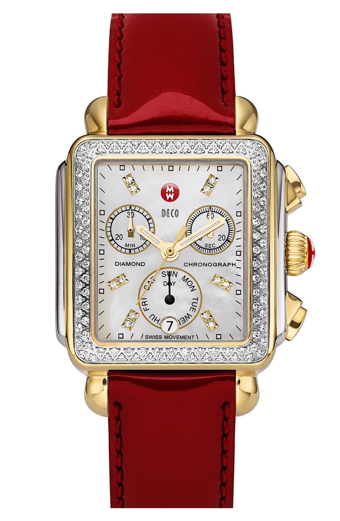 MICHELE, Deco Diamond Diamond Dial Two-Tone Watch Case, 33mm x 35mm, Alternate thumbnail 3, color, SILVER/ GOLD