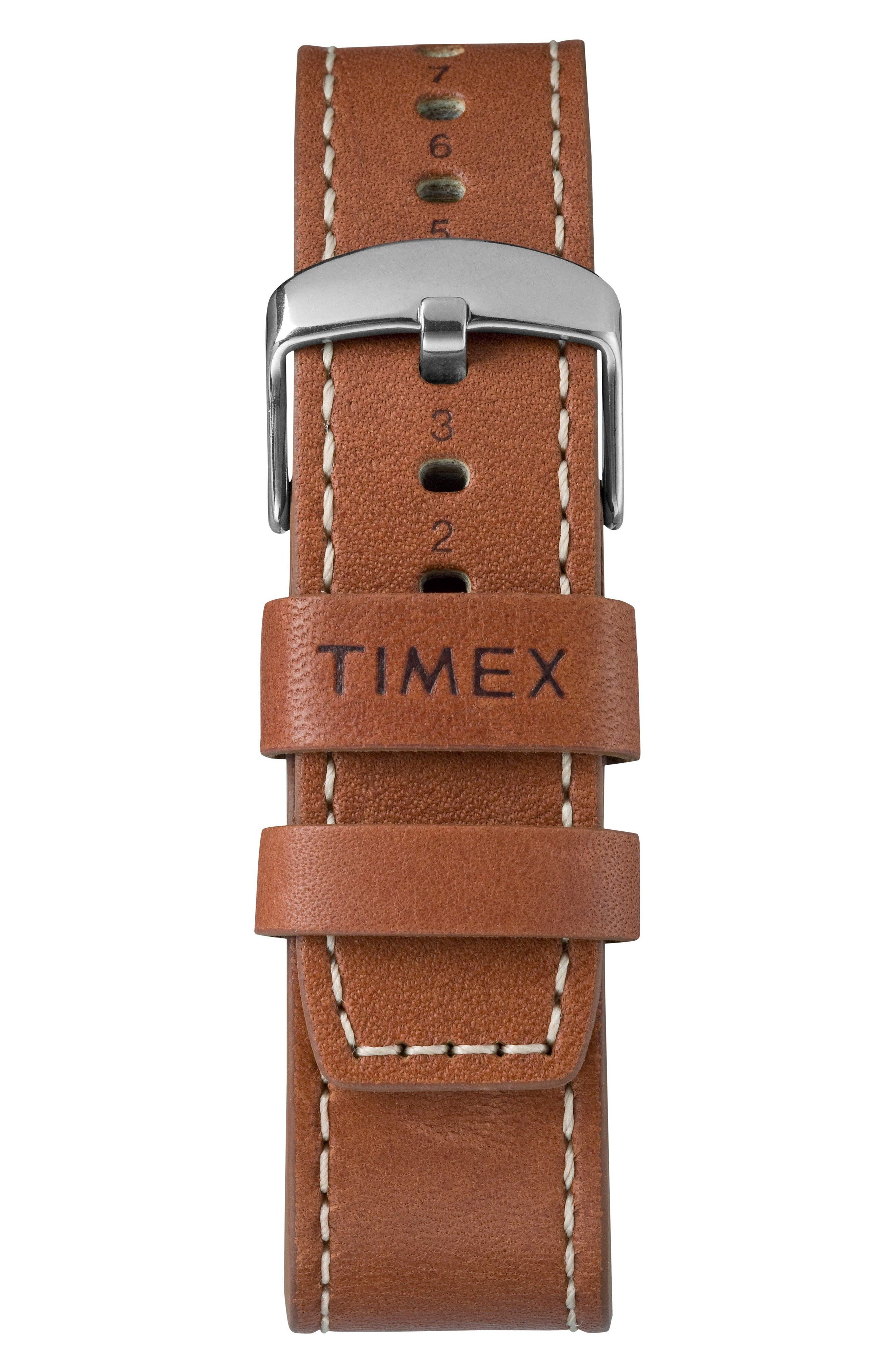 TIMEX<SUP>®</SUP>, Waterbury Chronograph Leather Strap Watch, 42mm, Alternate thumbnail 3, color, RUST/ BLACK/ SILVER