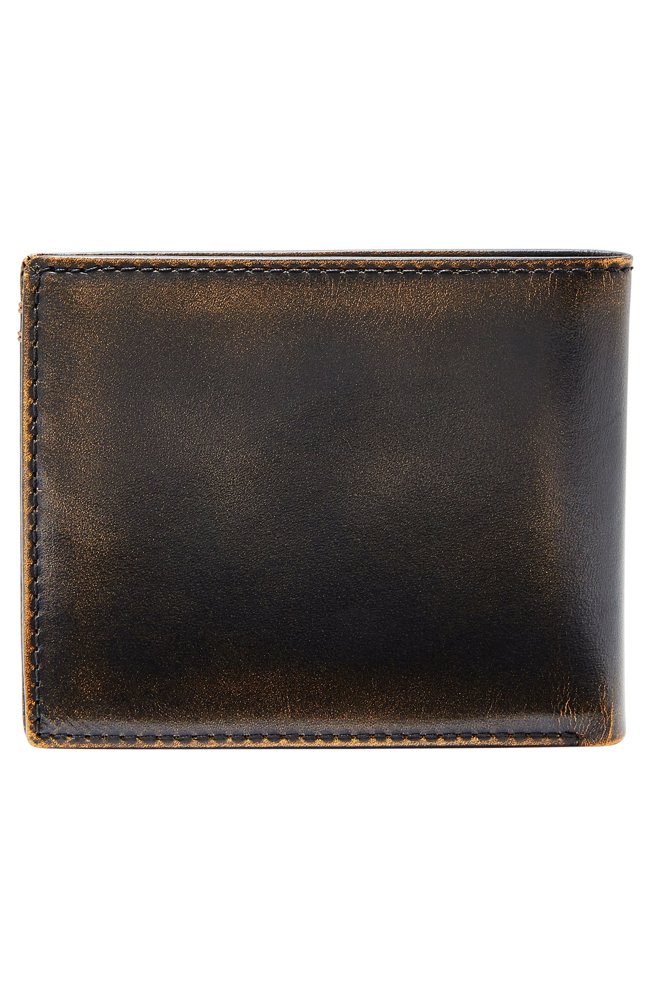 FOSSIL, Wade Leather Wallet, Alternate thumbnail 4, color, BLACK