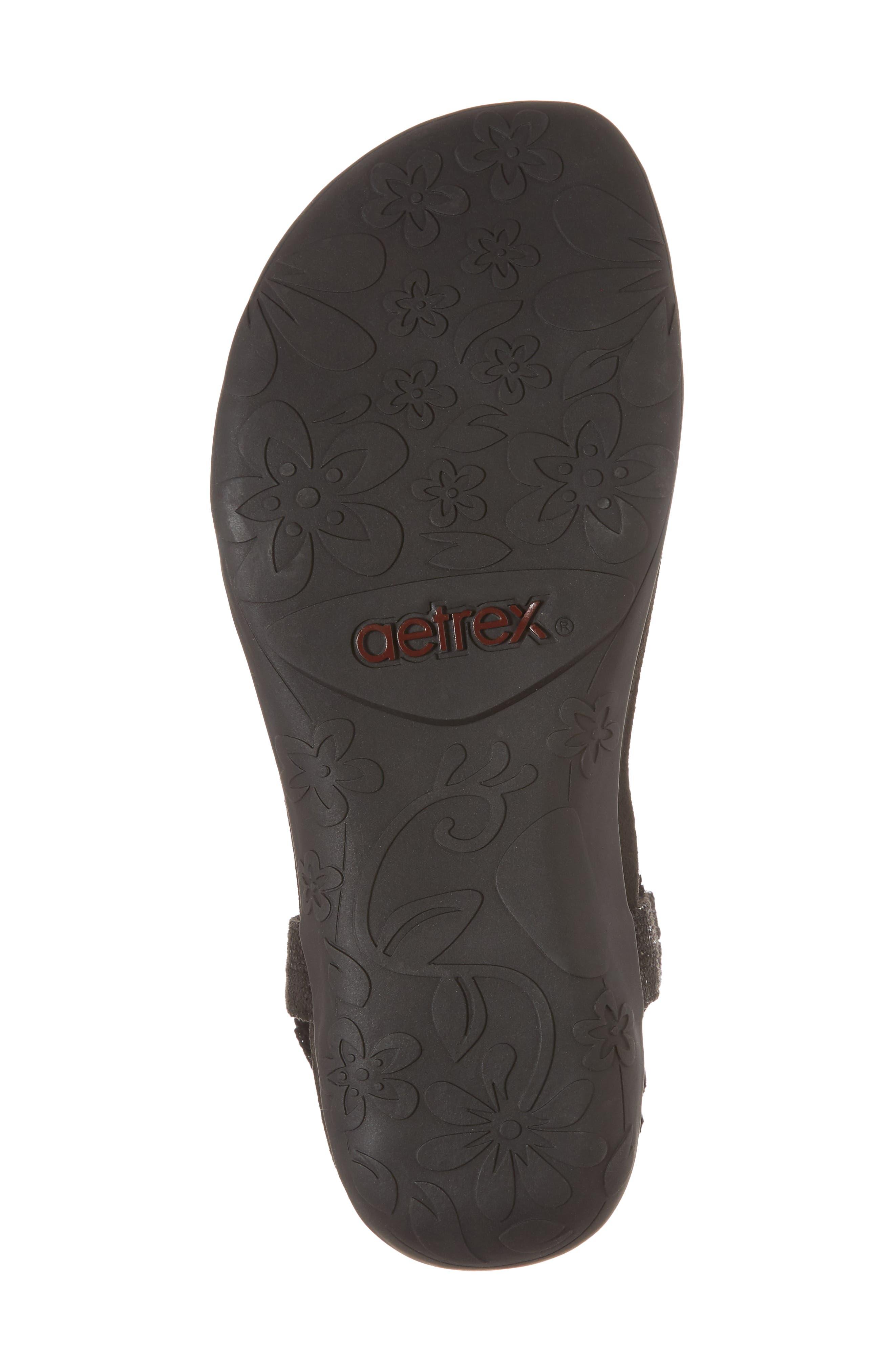 AETREX, Jade Embellished T-Strap Sandal, Alternate thumbnail 6, color, BLACK LEATHER