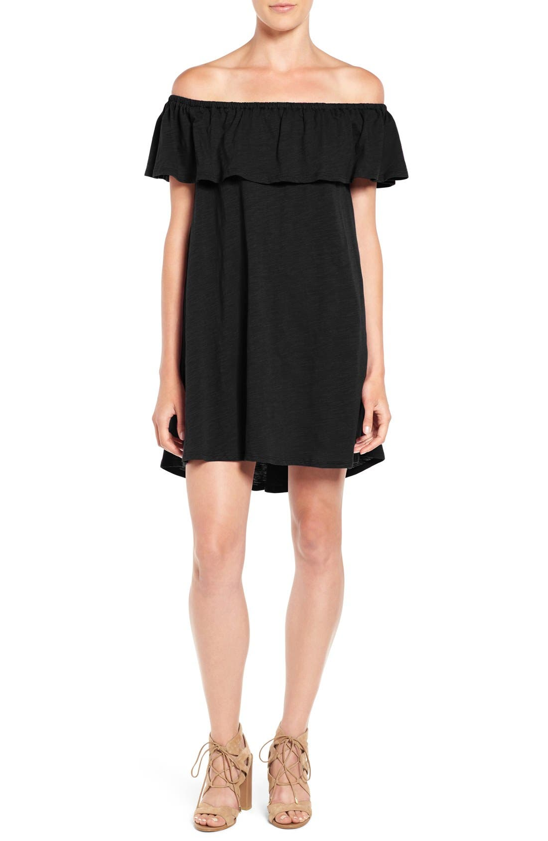 REBECCA MINKOFF, 'Diosa' Cotton Off the Shoulder Dress, Main thumbnail 1, color, 001