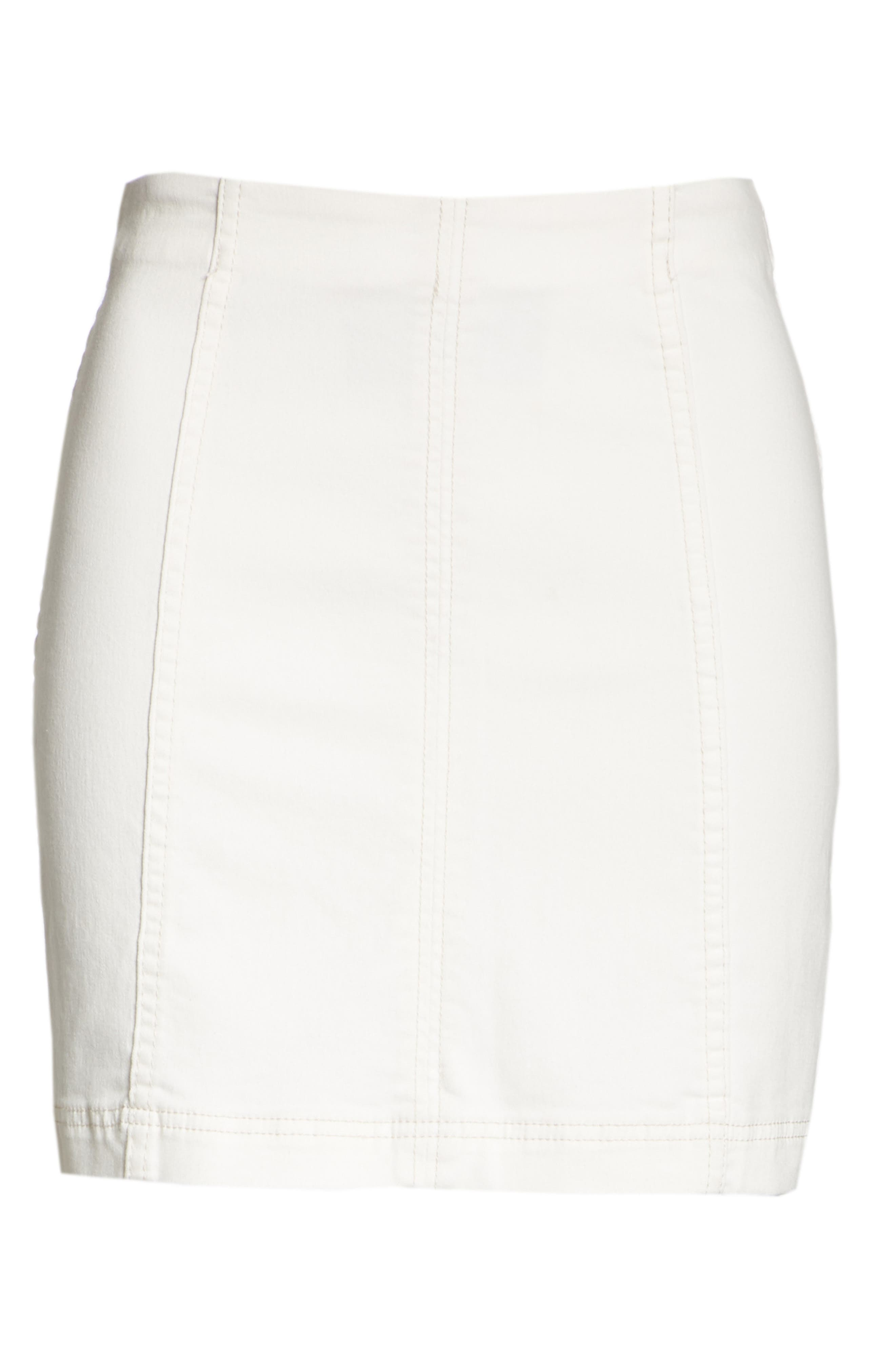 FREE PEOPLE, We the Free by Free People Modern Denim Skirt, Alternate thumbnail 7, color, 100