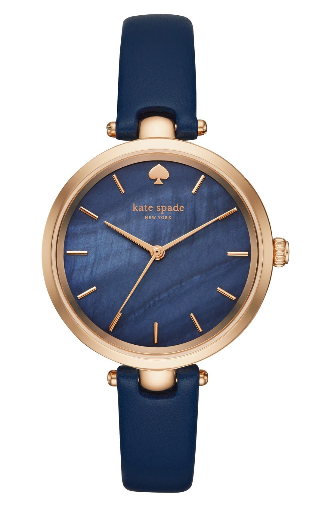 KATE SPADE NEW YORK, 'holland' round leather strap watch, 34mm, Main thumbnail 1, color, BLUE/ MOTHER OF PEARL