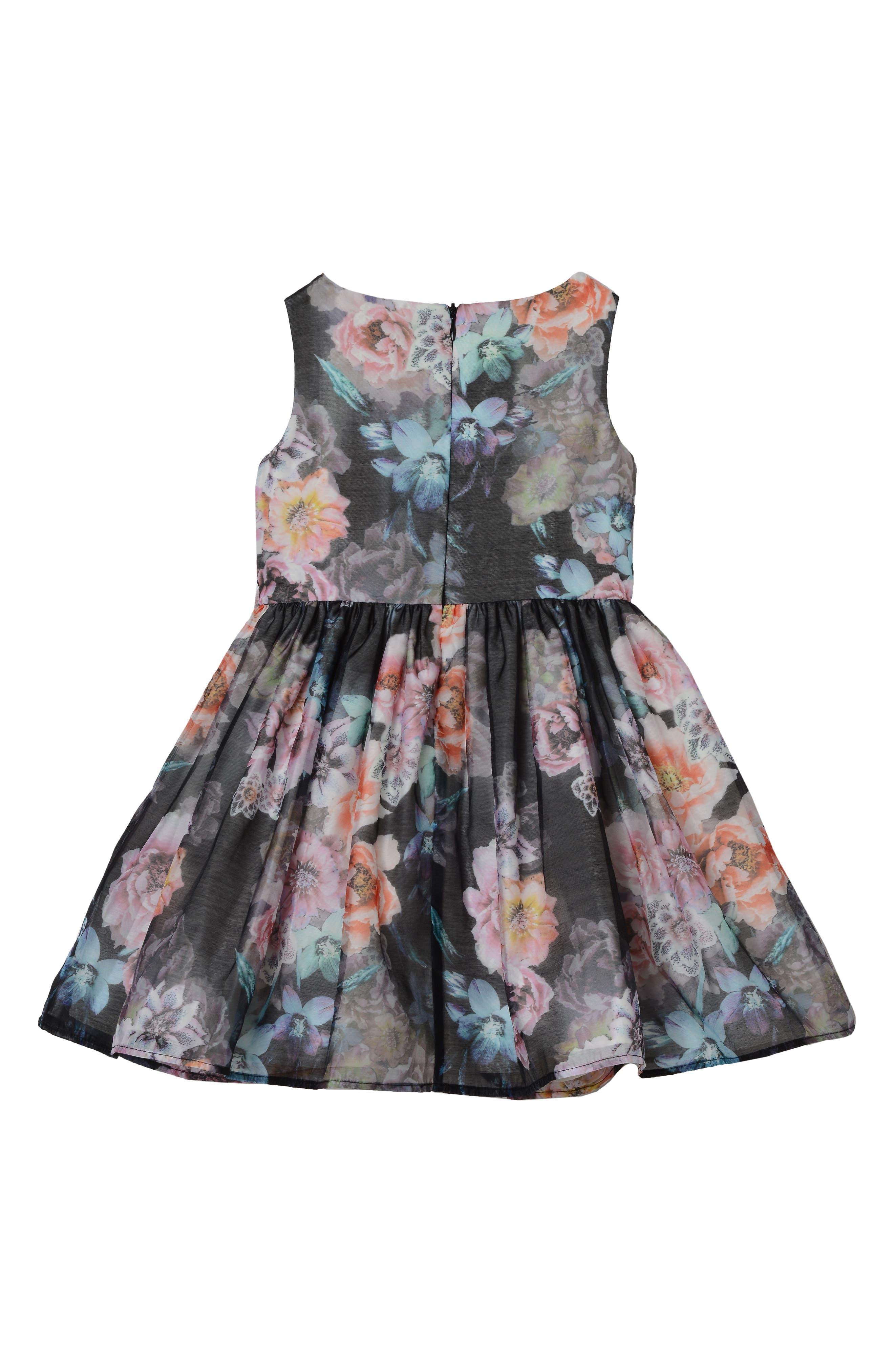 PASTOURELLE BY PIPPA & JULIE, Floral Print Dress, Alternate thumbnail 2, color, BLACK 6
