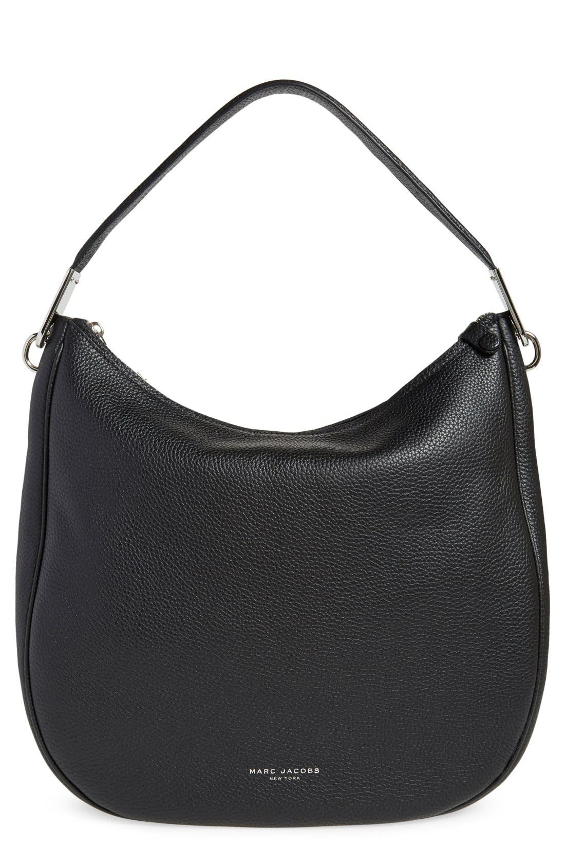 MARC JACOBS, 'Pike Place' Leather Hobo, Main thumbnail 1, color, 001
