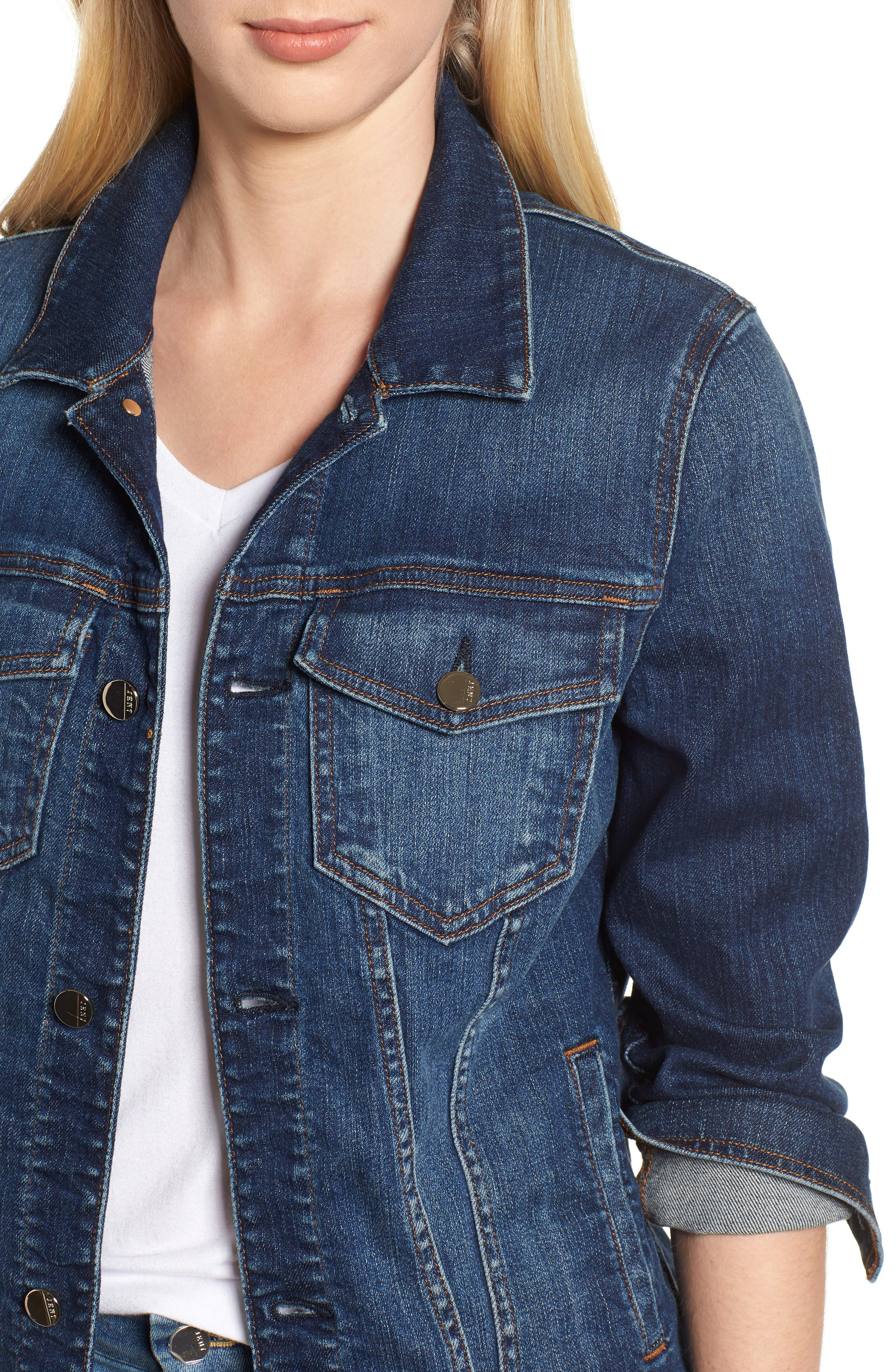 JEN7 BY 7 FOR ALL MANKIND, Classic Denim Jacket, Alternate thumbnail 4, color, 403
