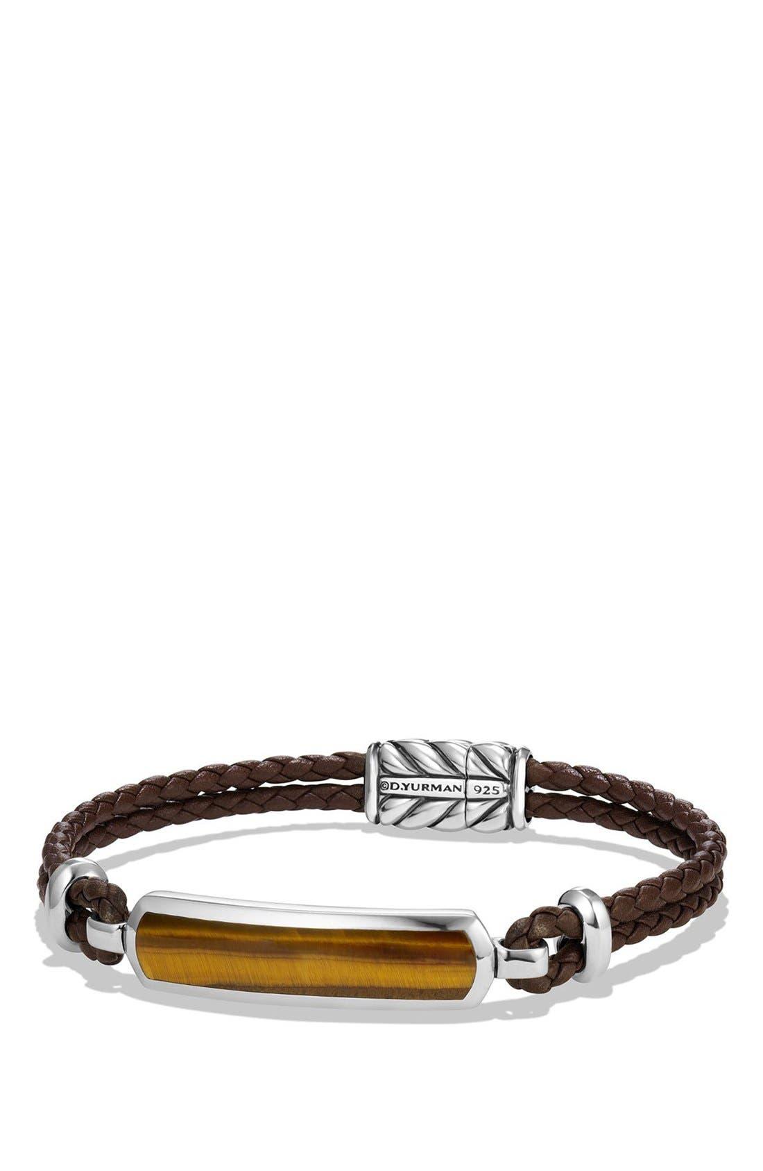 DAVID YURMAN, Bar Station Leather Bracelet, Main thumbnail 1, color, SILVER/ TIGERS EYE