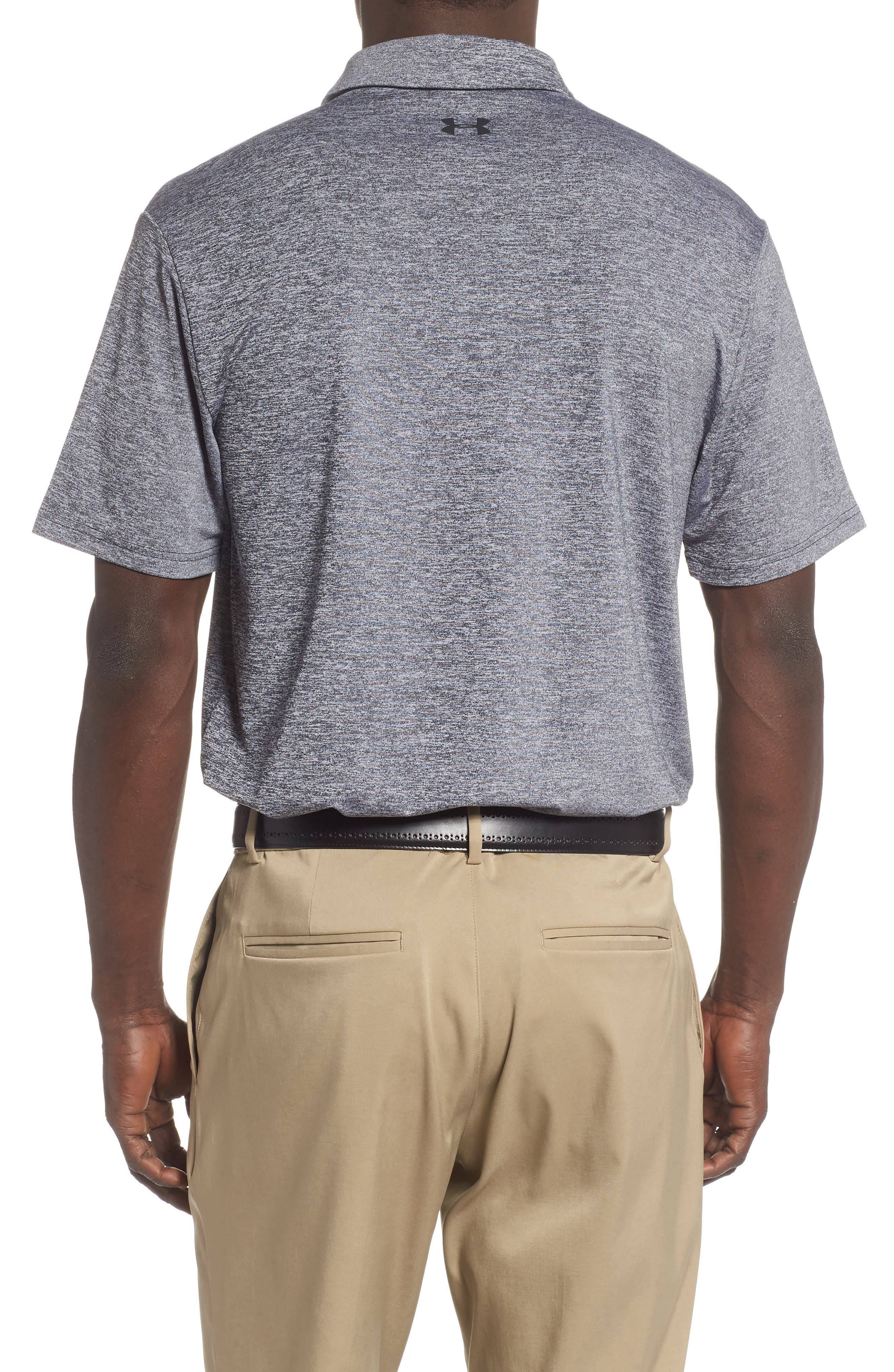 UNDER ARMOUR, Playoff 2.0 Loose Fit Polo, Alternate thumbnail 2, color, BLACK / BLACK / BLACK