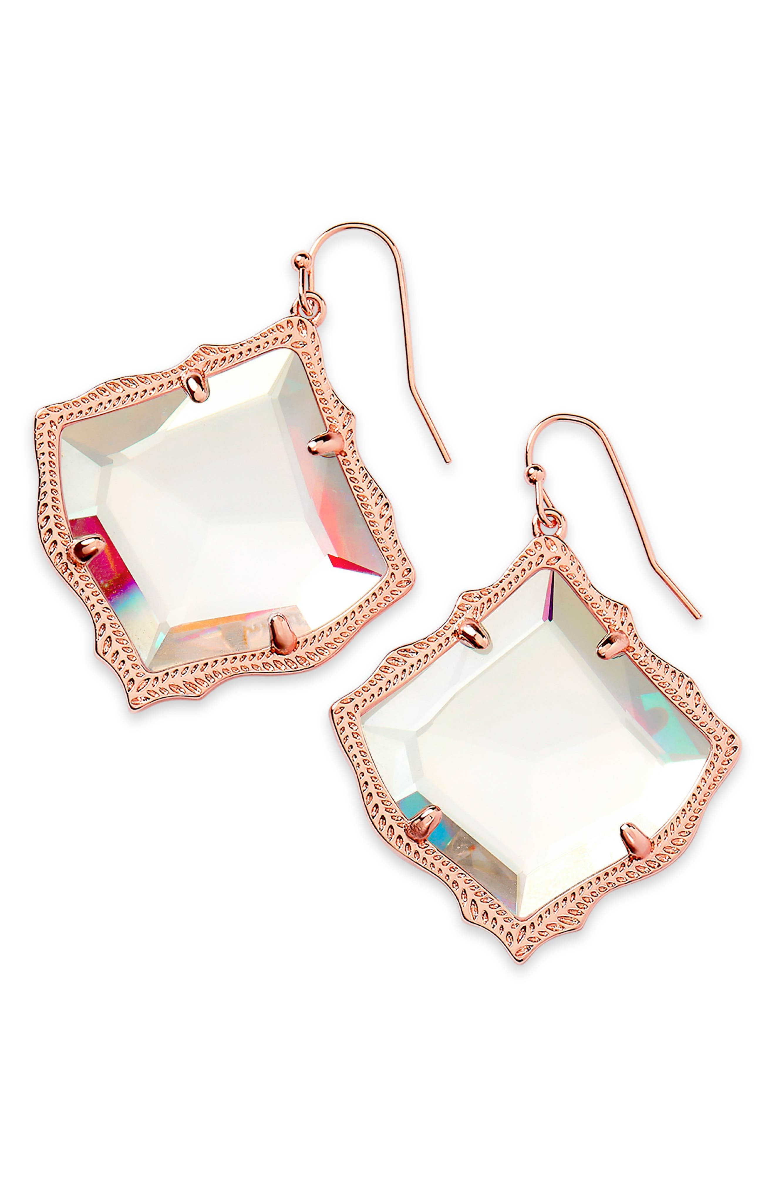 KENDRA SCOTT, Kirsten Drop Earrings, Main thumbnail 1, color, DICHROIC GLASS/ ROSE GOLD