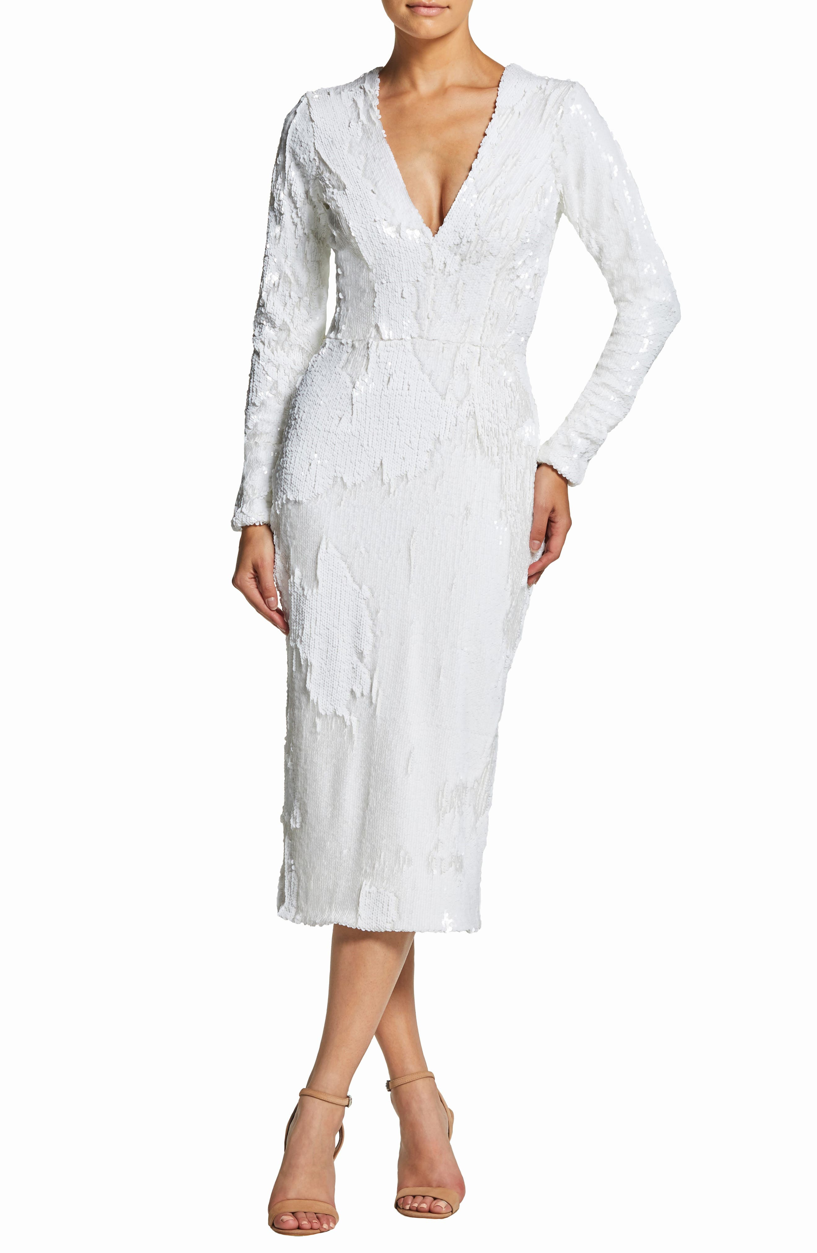 DRESS THE POPULATION Elizabeth Plunge Midi Dress, Main, color, LILY