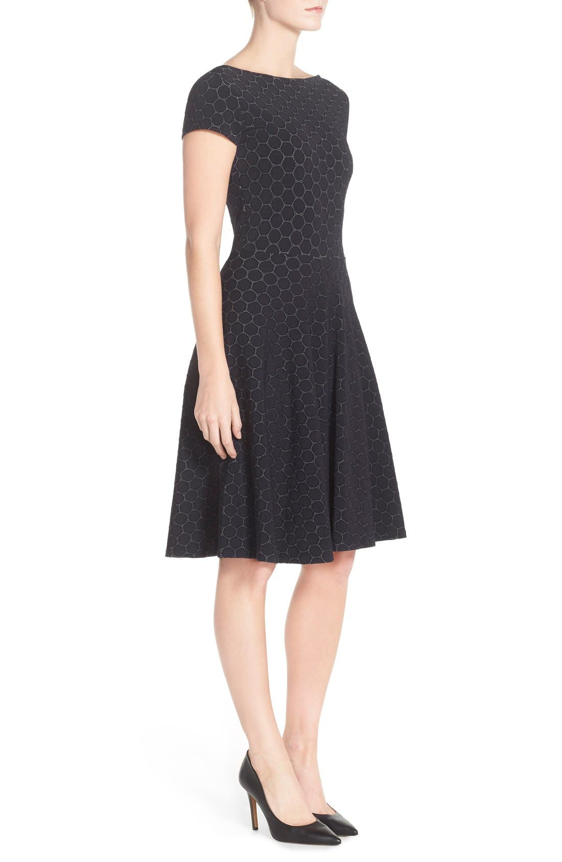 LEOTA, 'Circle' Jacquard Woven Jersey Dress, Alternate thumbnail 6, color, BLACK CAMEO CLOTH