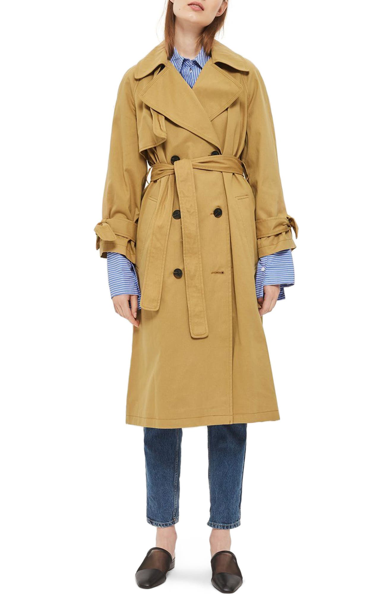 TOPSHOP, Editor's Double Breasted Trench Coat, Main thumbnail 1, color, 200