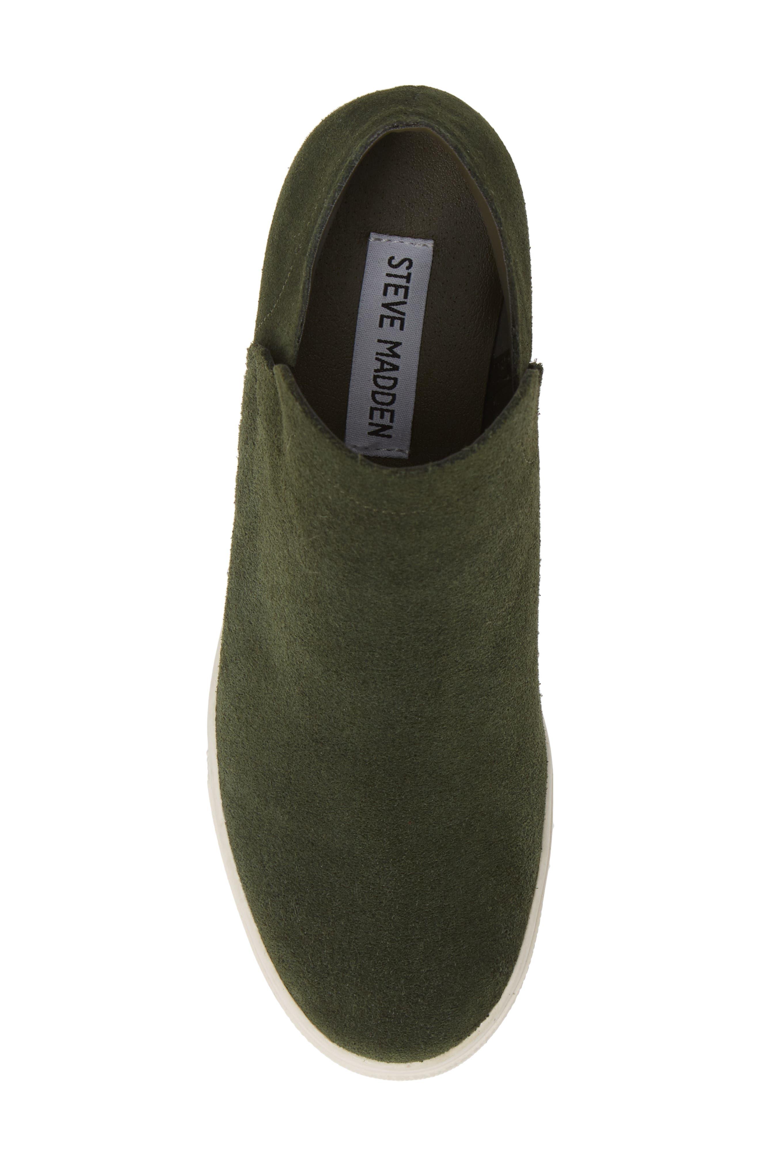 STEVE MADDEN, Wrangle Sneaker, Alternate thumbnail 5, color, OLIVE SUEDE