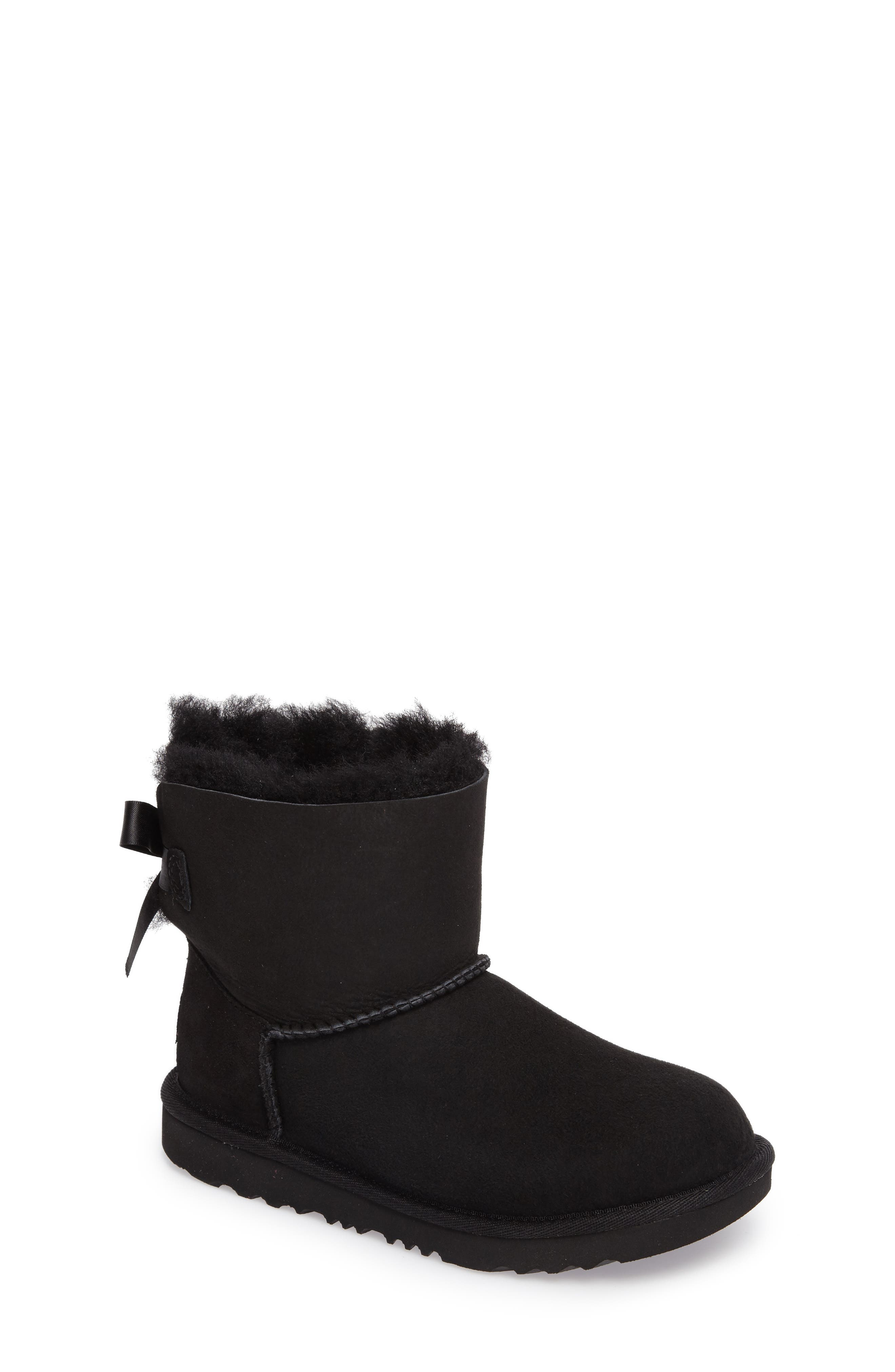 UGG<SUP>®</SUP> Mini Bailey Bow II Water Resistant Boot, Main, color, BLACK