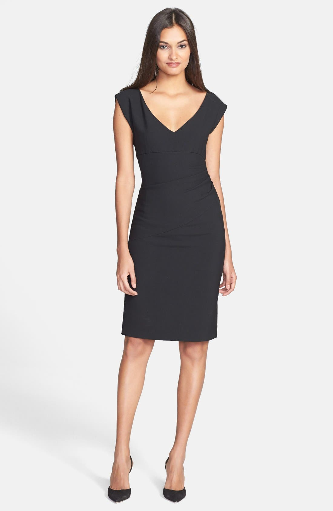 DIANE VON FURSTENBERG, 'Bevin' Ruched Knit Sheath Dress, Alternate thumbnail 4, color, 001